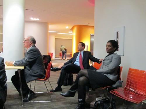 CEO Goodman, left, Port Authority Janet Cox, right