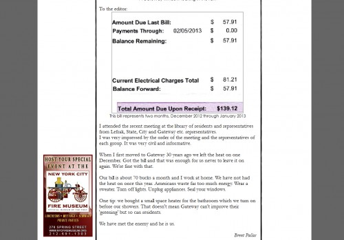 Gateway electric bill in Briadsheet