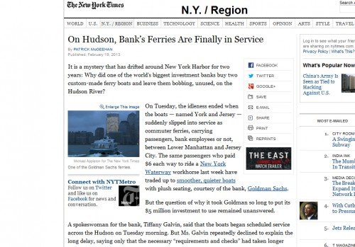 NYT article Goldman ferry