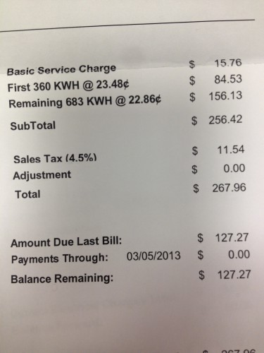 Electric bill March 11