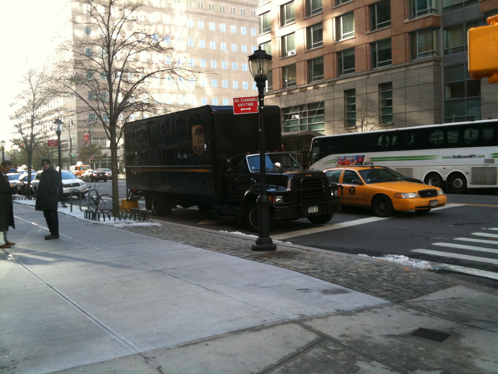 UPS truck in November, parking illegally on North End Avenue