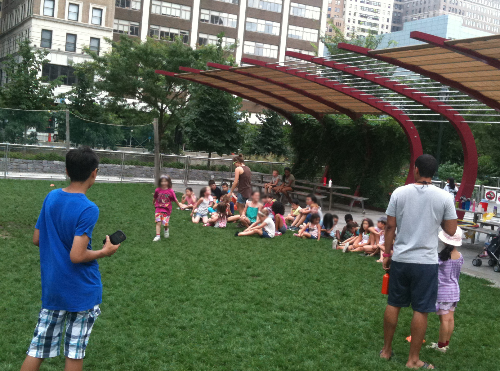 Kids-exercise-group-on-lawn