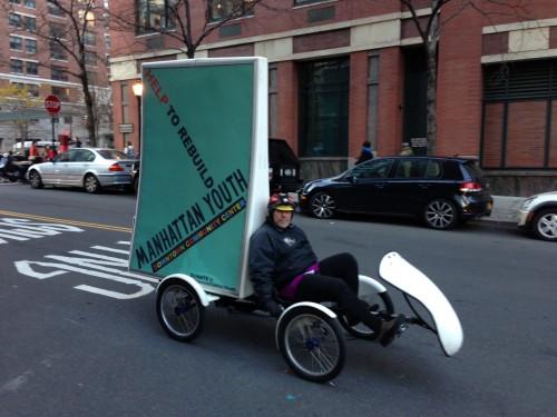 Shelley Mossey peddling his Chutzpah Cycle
