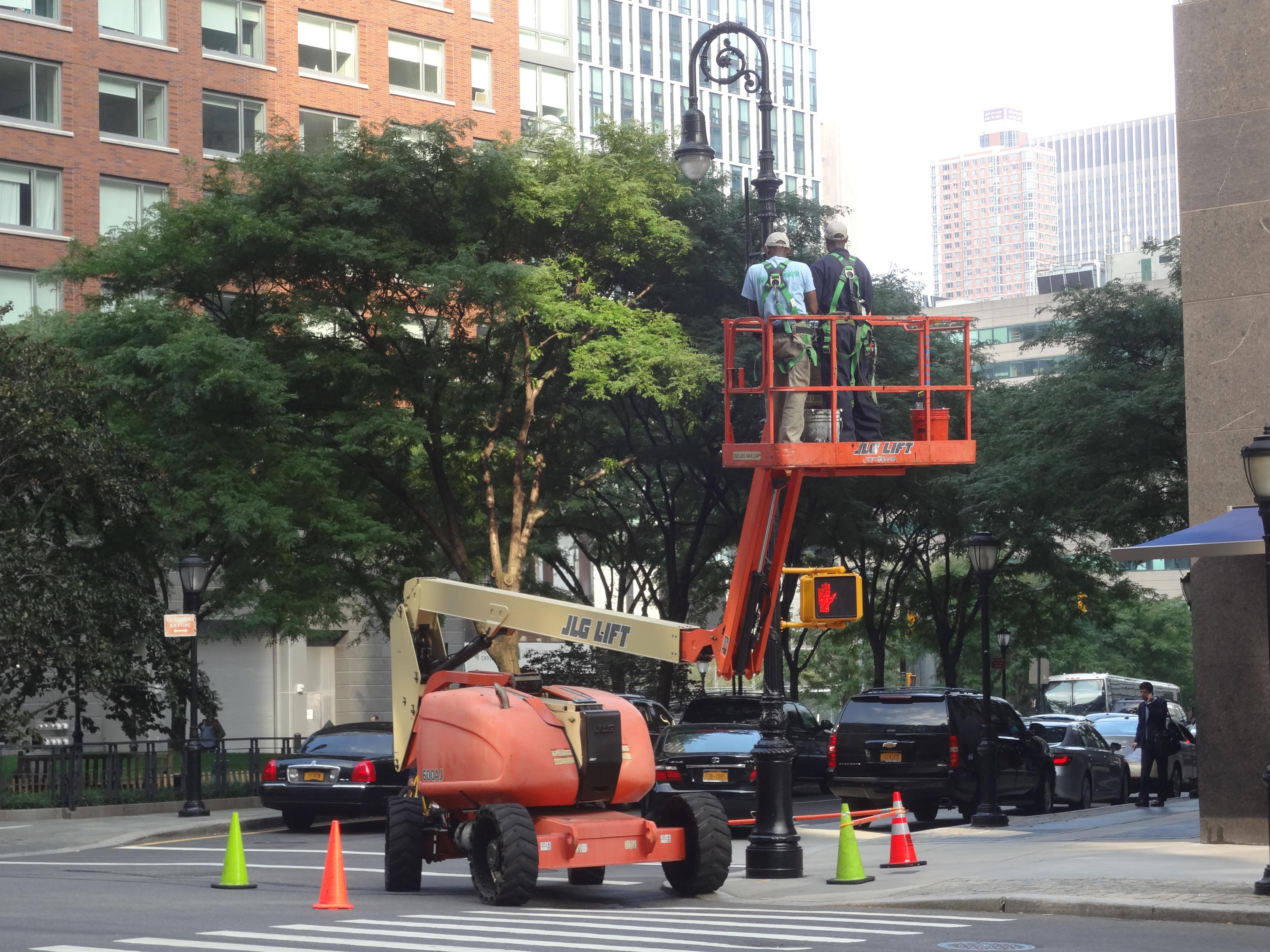 Painting a new street light pole
