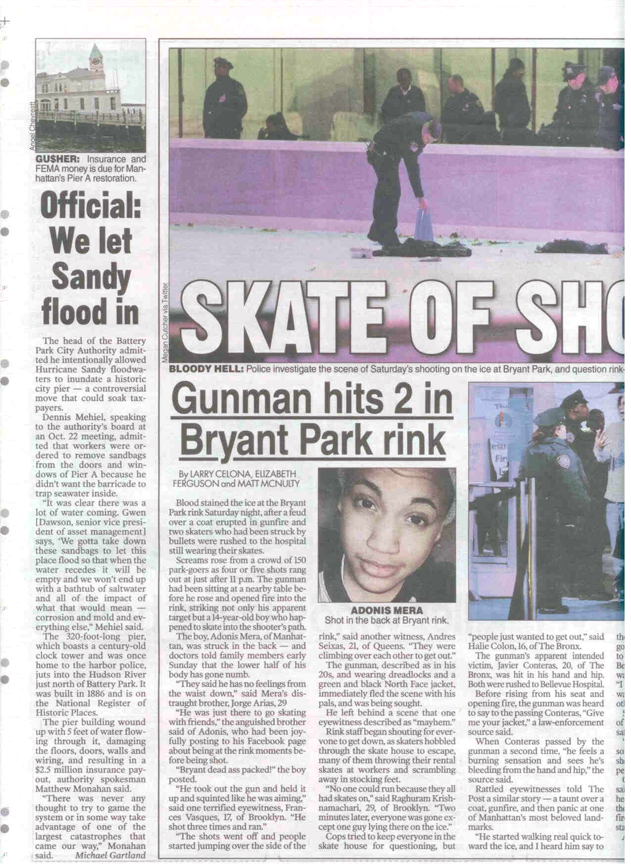 NY Post page on Pier A story