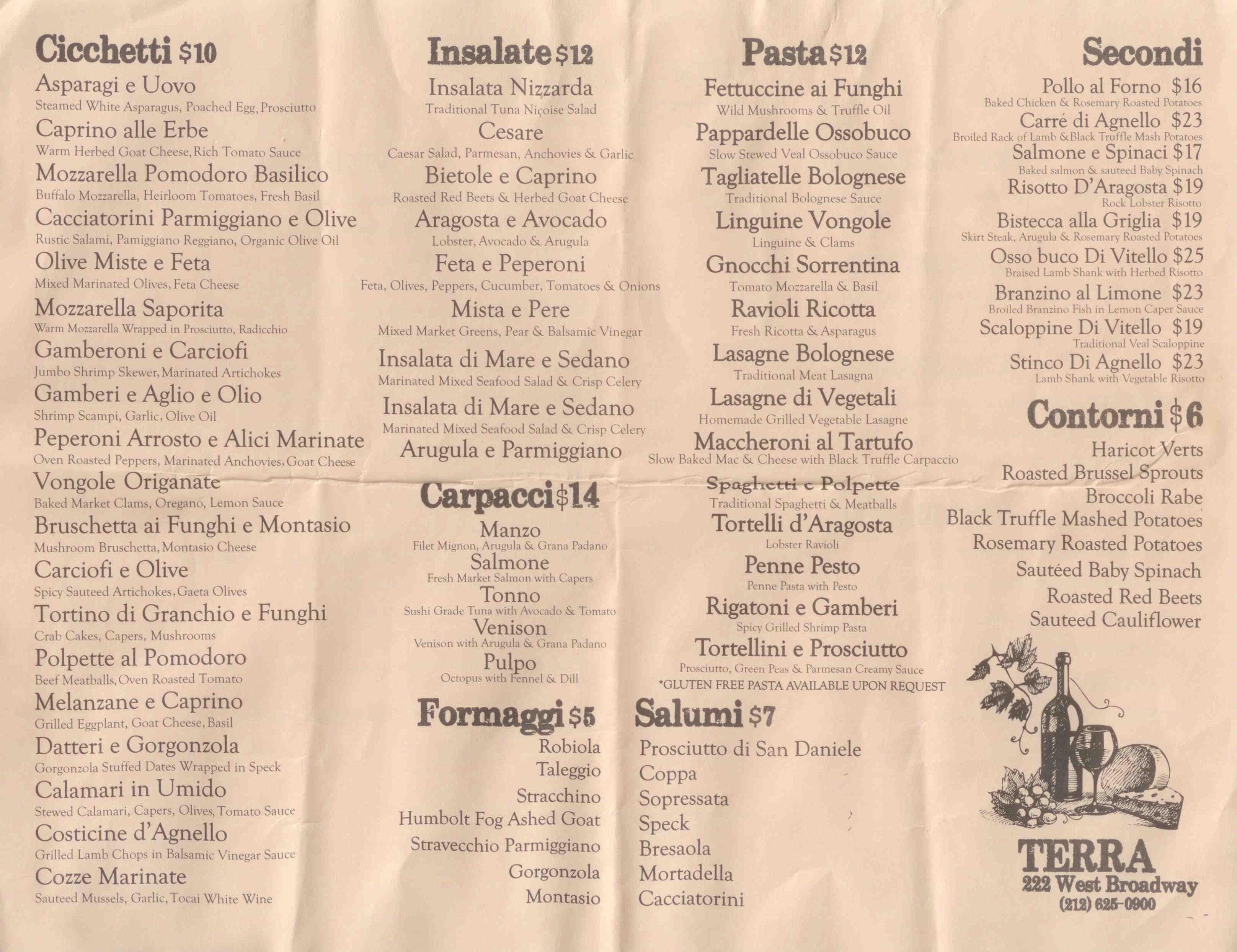 Terra food menu