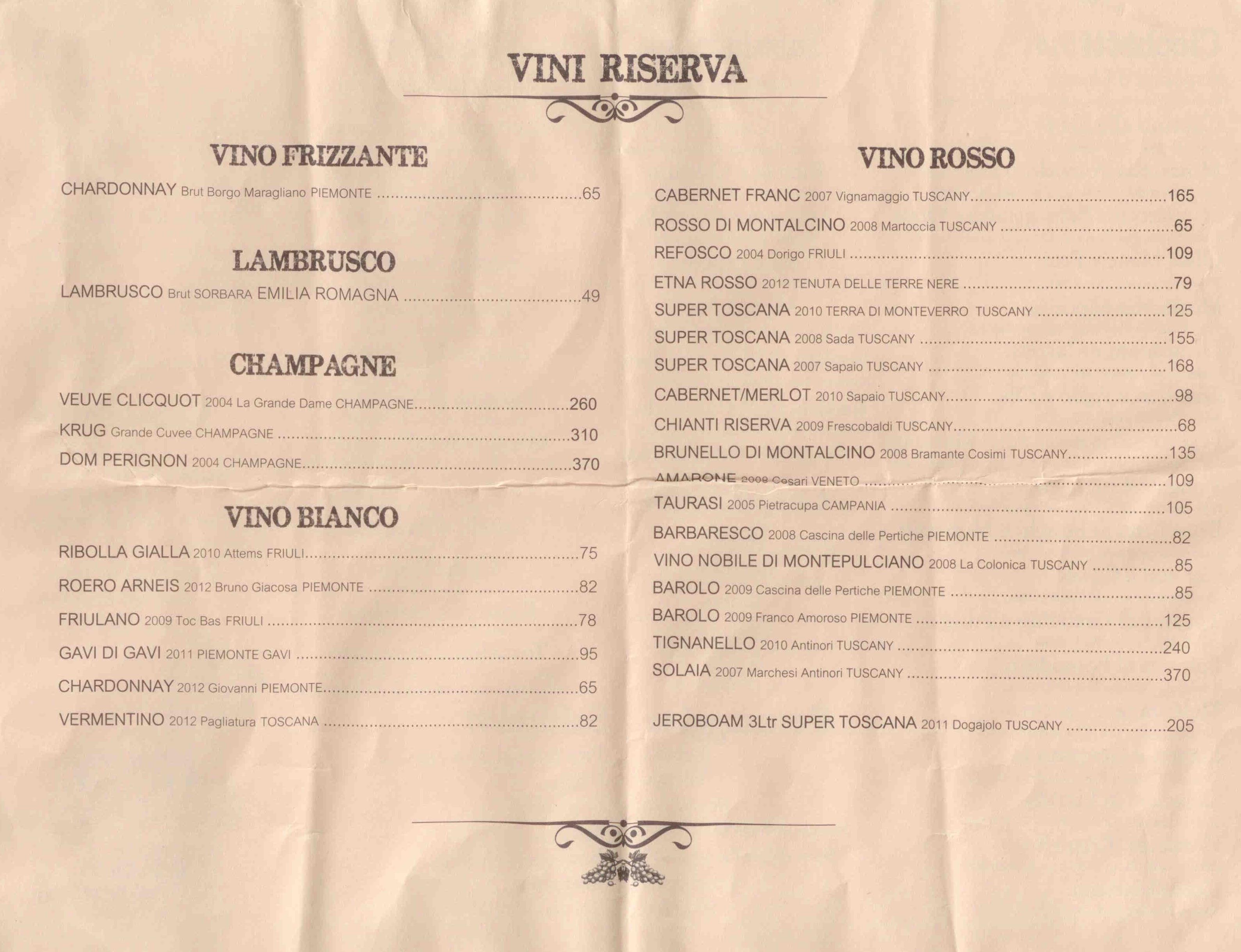Terra wine menu