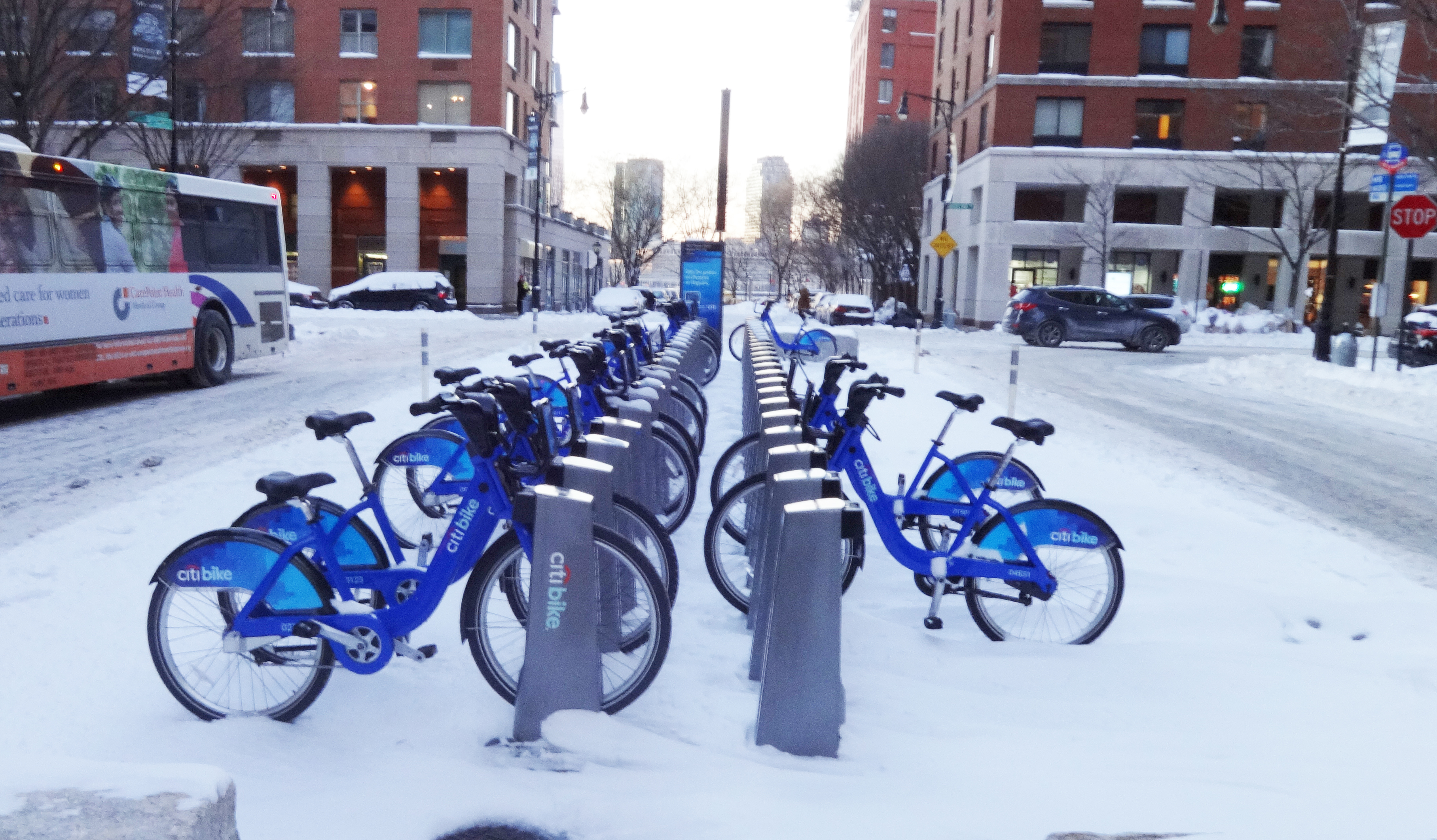 Citi Bikes in snow