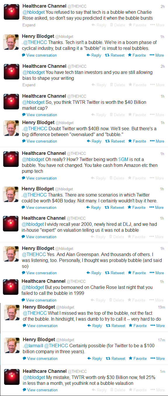 My Twitter interview with Henry Blodget on tech bubble