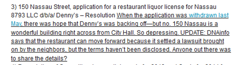 Tribeca Citizen comments on Dennys