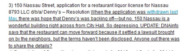 Tribeca Citizen comments on Dennys