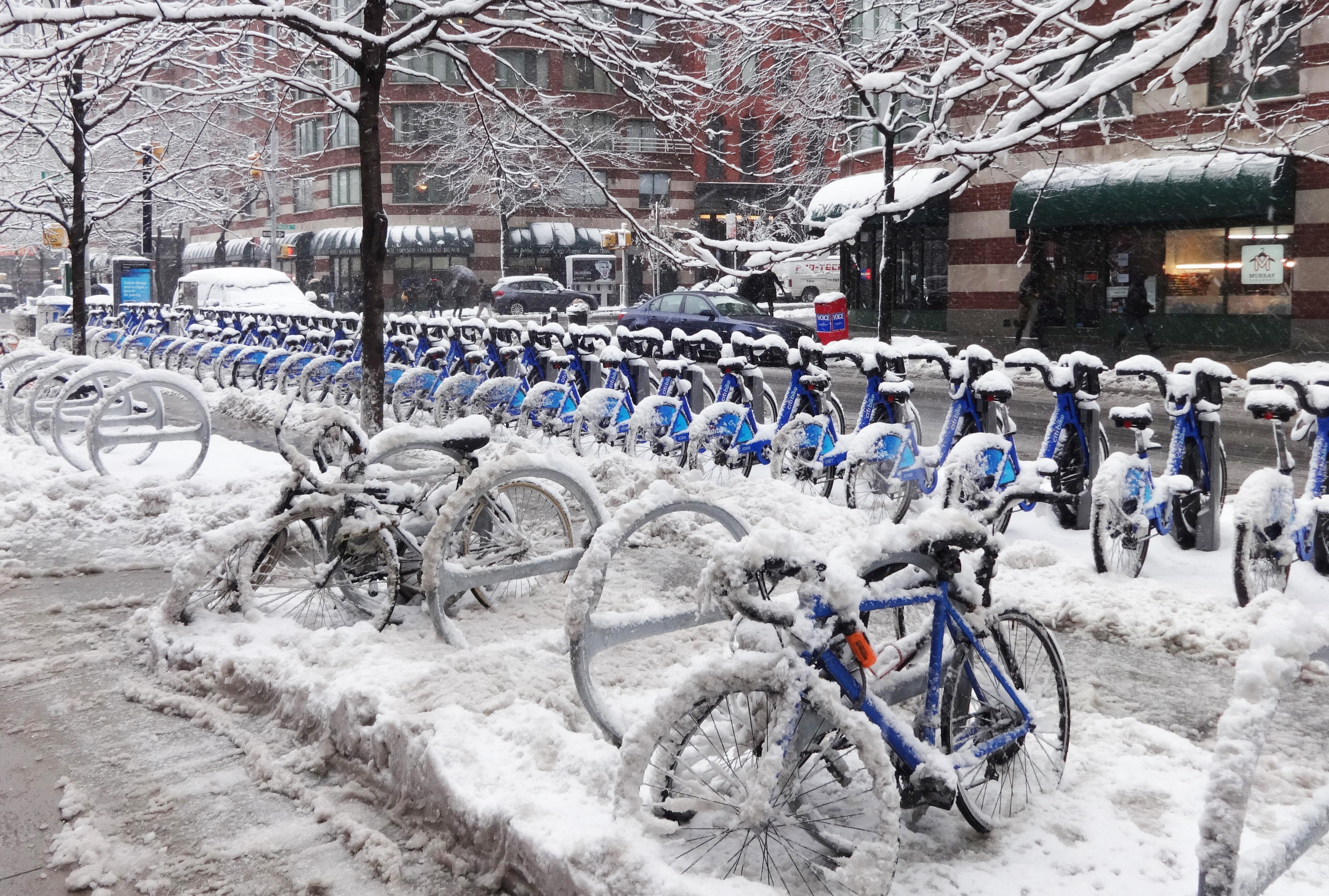 Citi Bikes in snow 2-3-2014