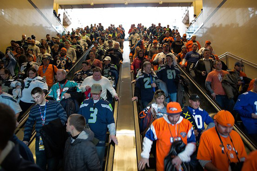 Super Bowl fans in mass transit