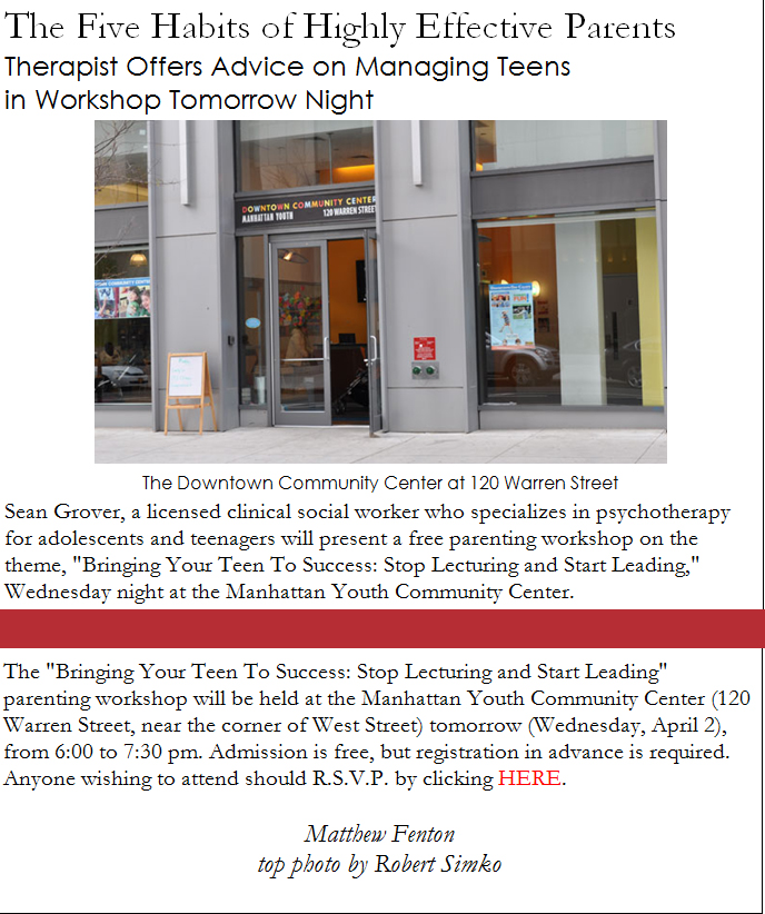 Broadsheet infomercial for Manhattan Youth lecture