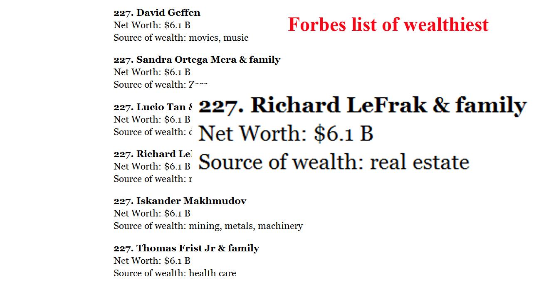 LeFrak in Forbes