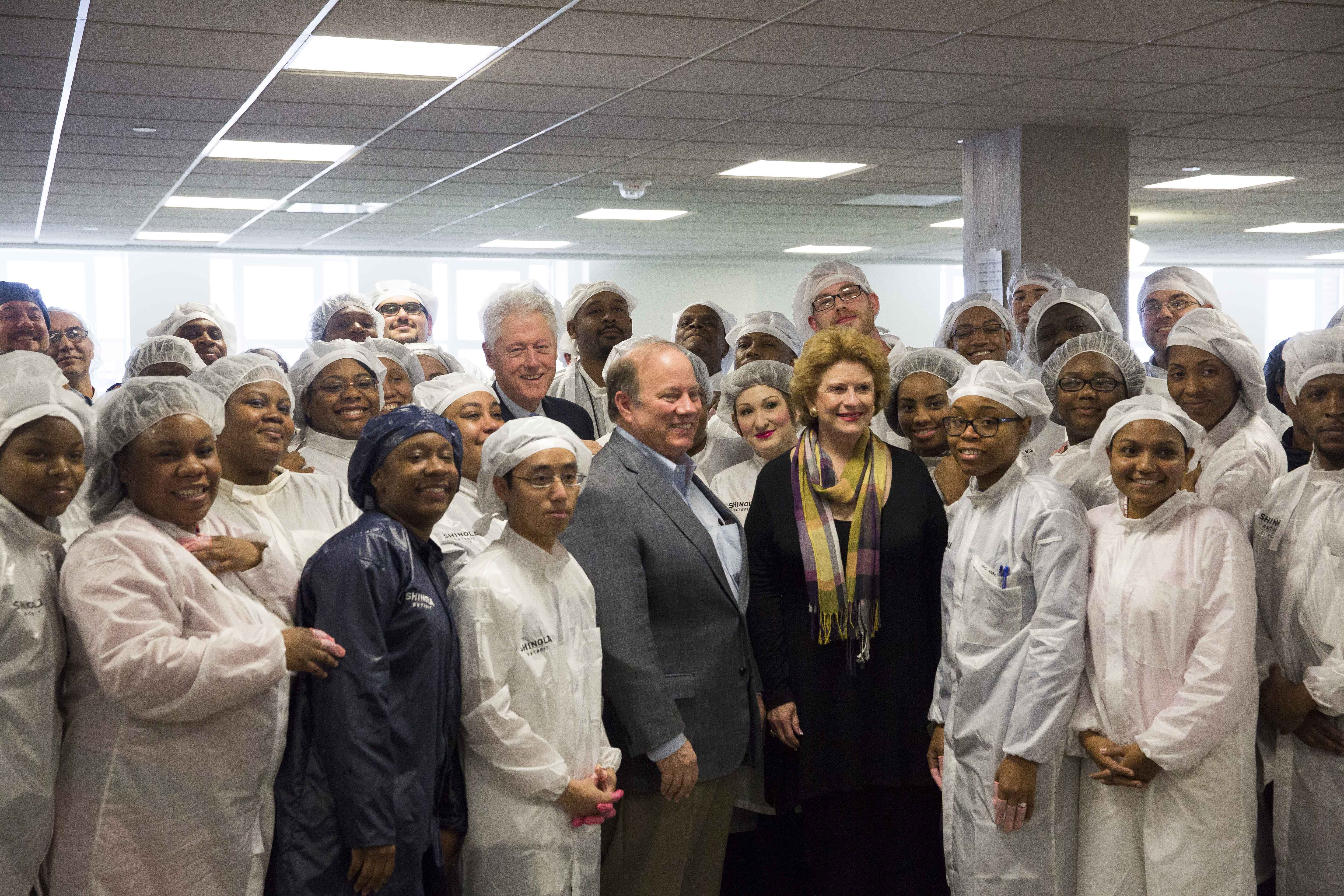 President Clinton with Shinola Workers