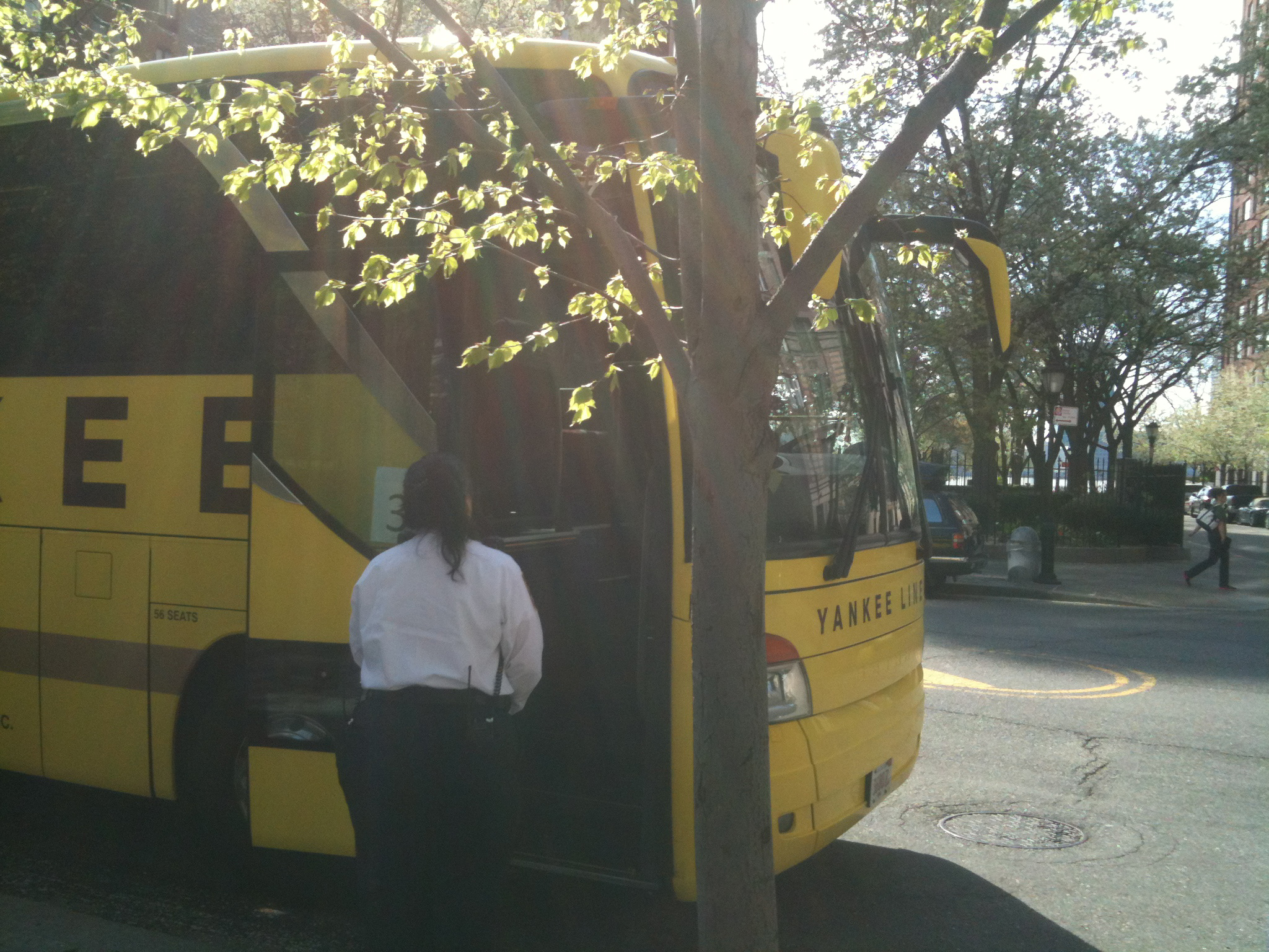 NYPD at yellow tour bus