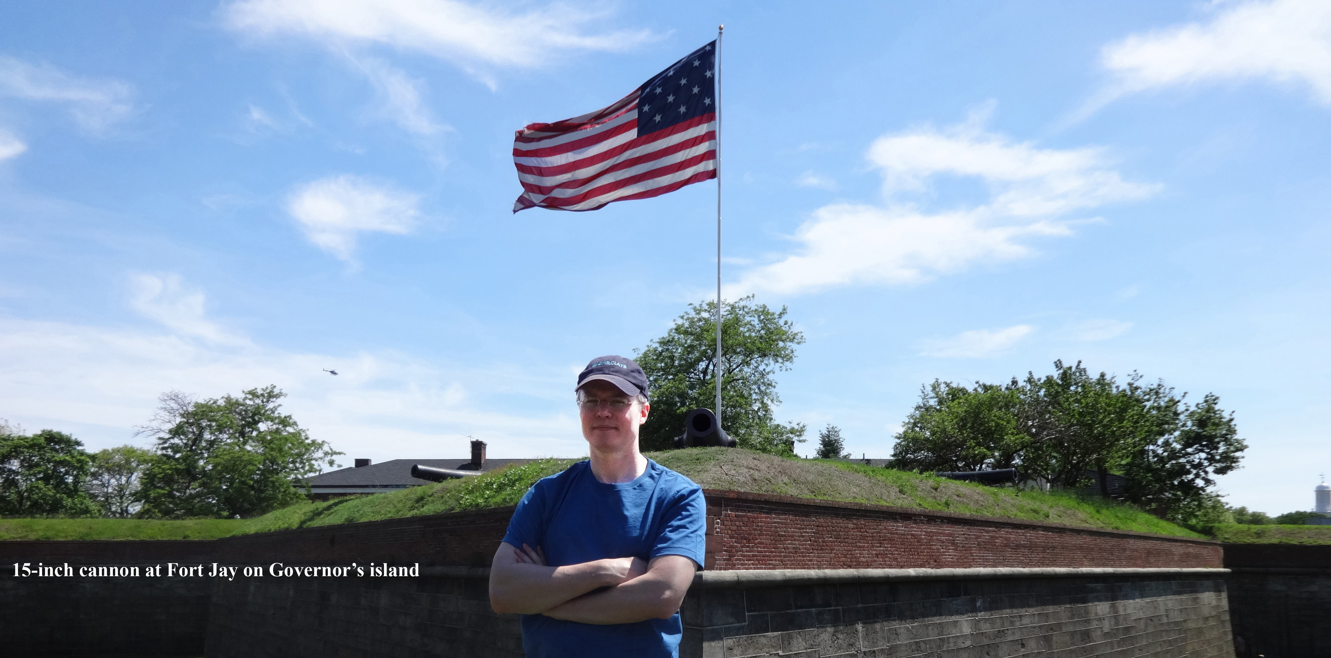 Patriotic Greer by cannon and flag Governors Island 2
