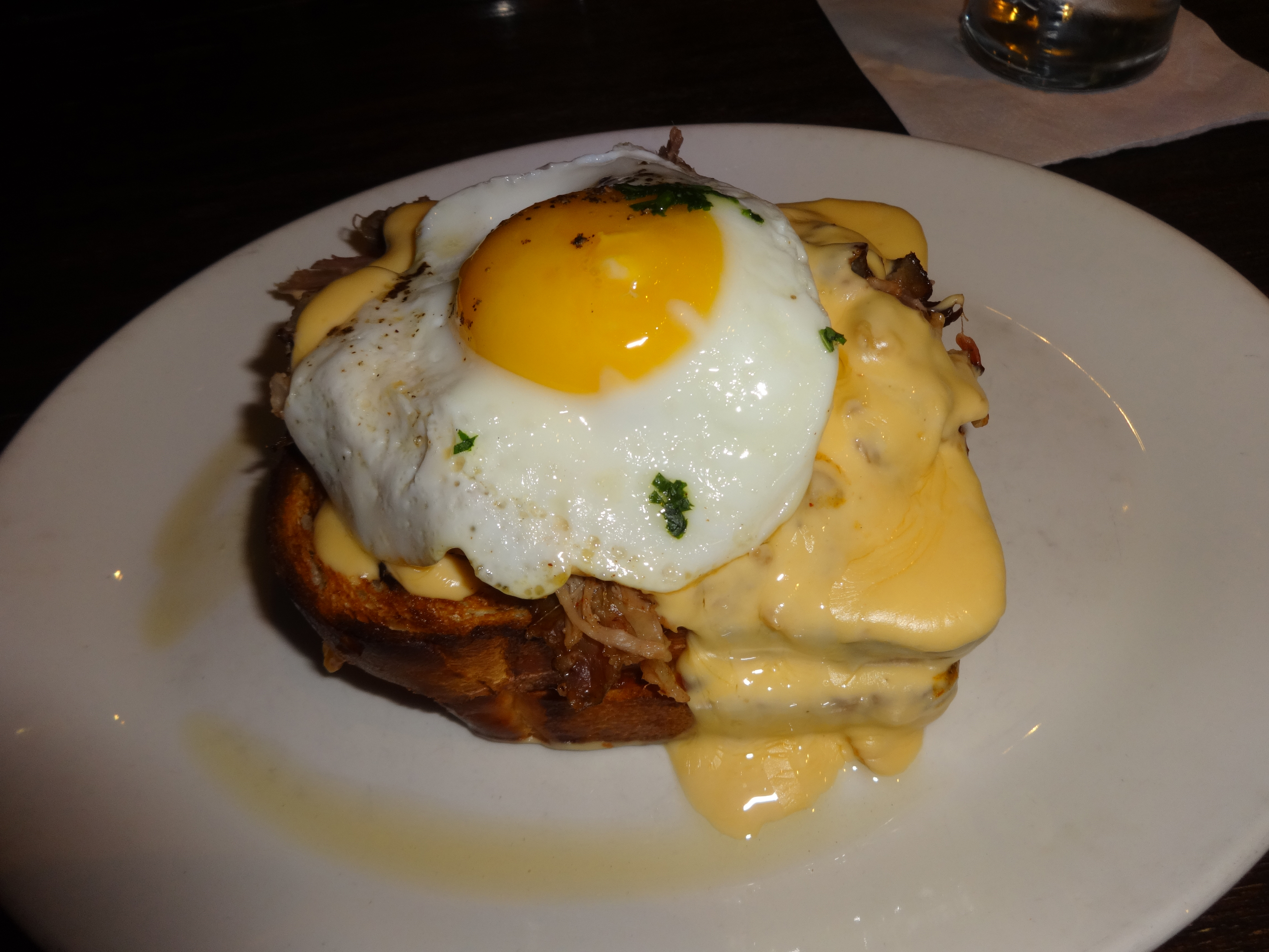 Blue Smoke mess grilled cheese egg pulled pork