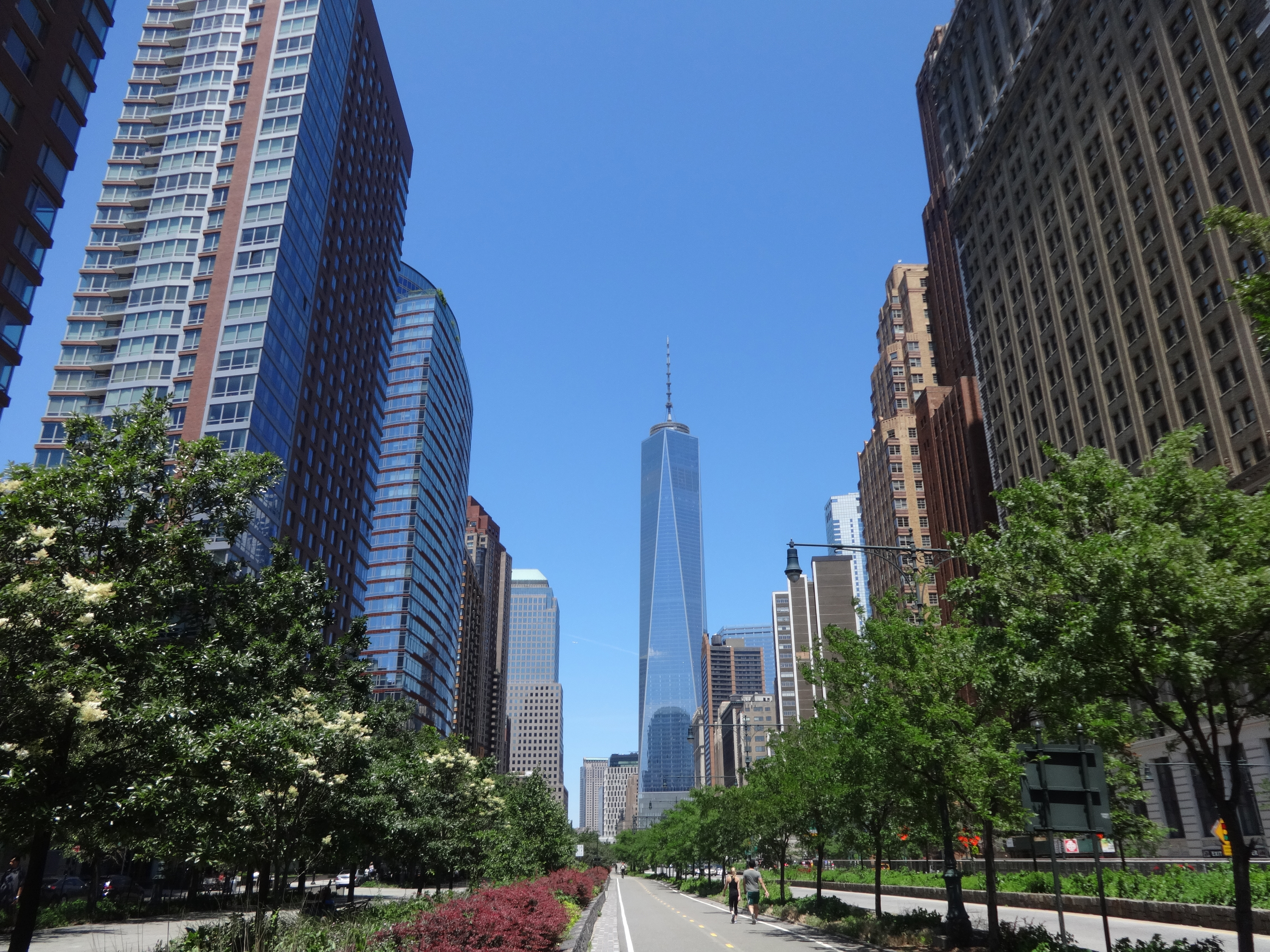 Freedom Tower and canyon of apartments in BPC 6-15-2014