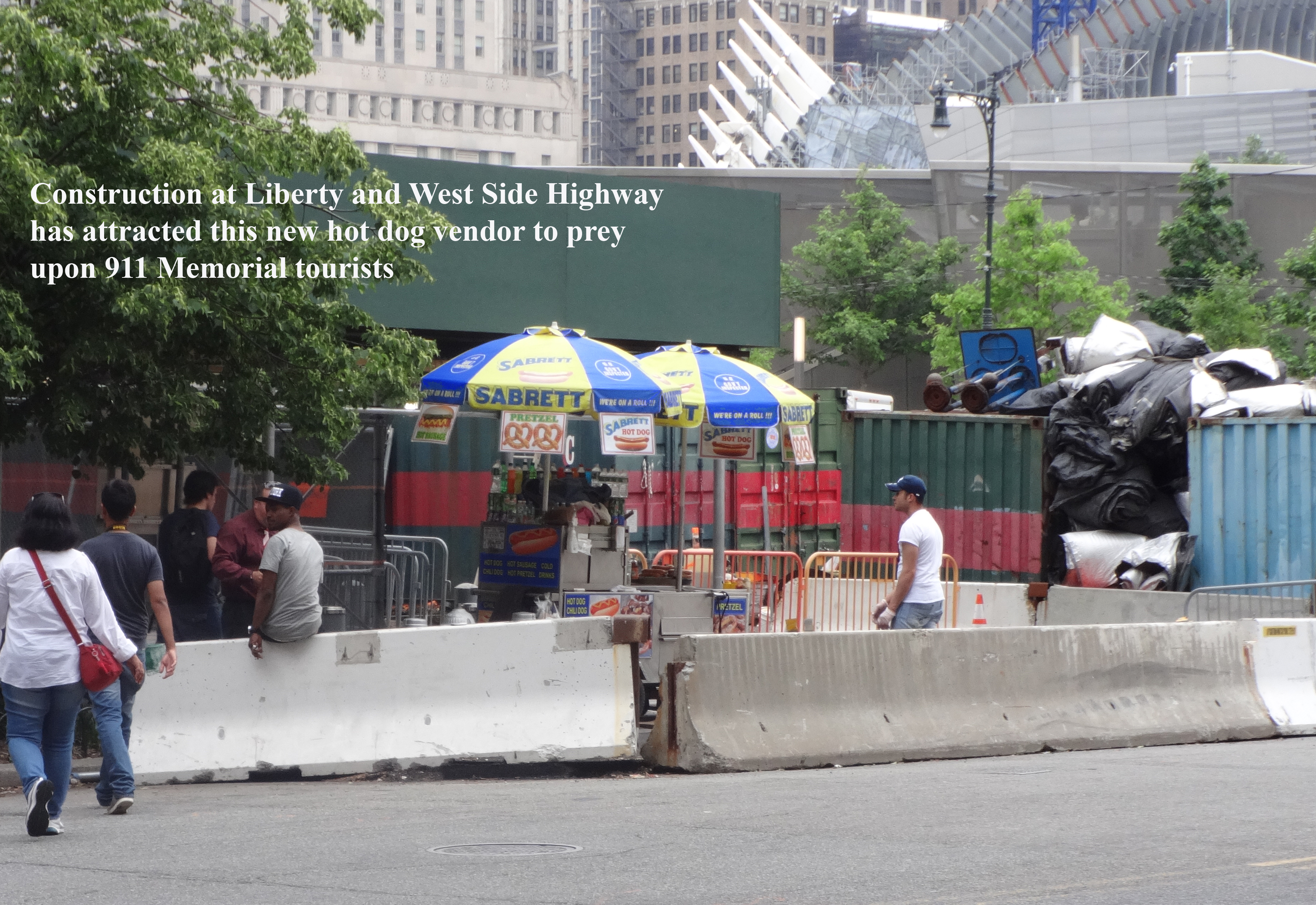 Hot dog vendor at Liberty and West Side Highway