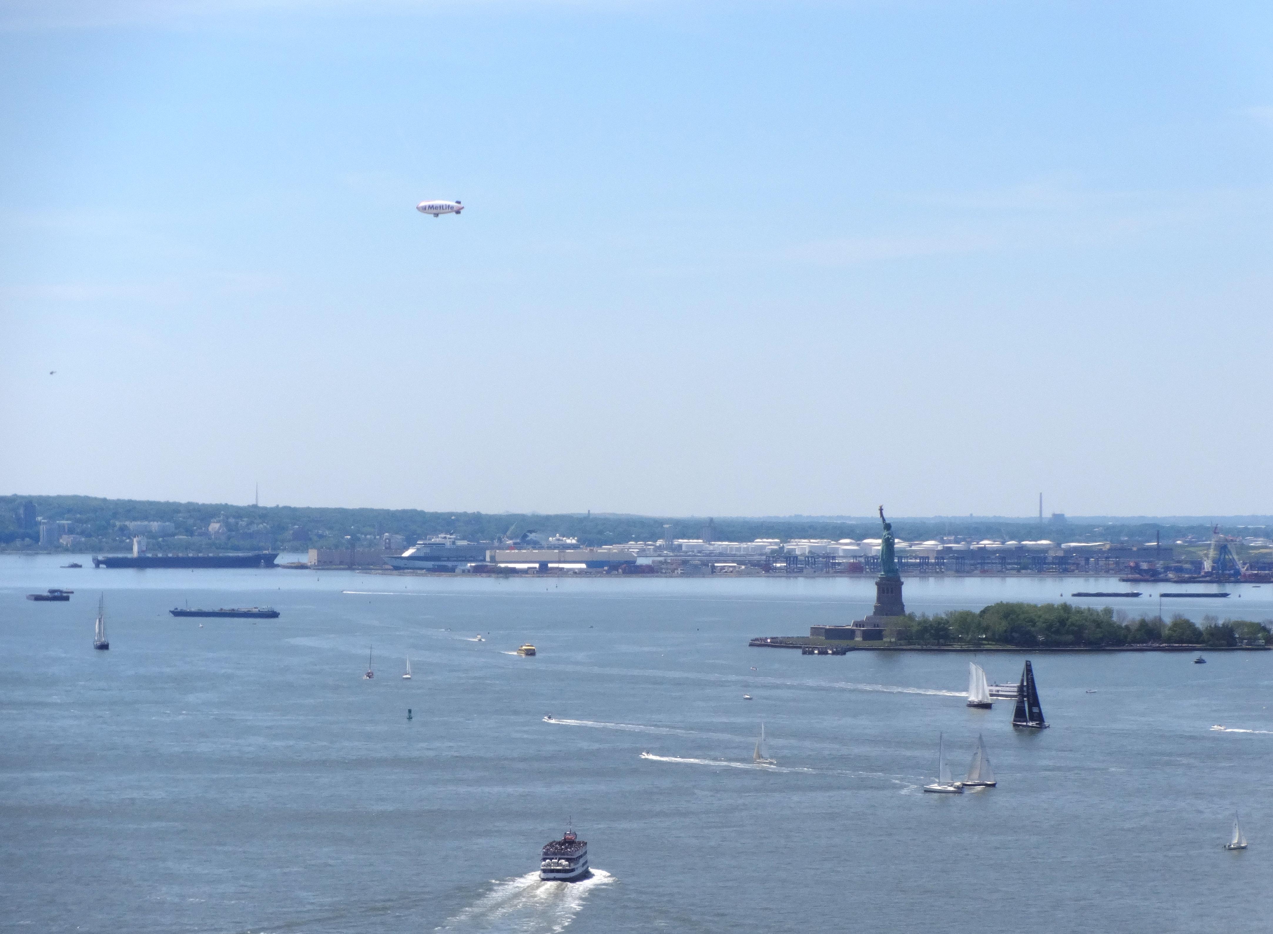 New York Harbor blimp sailboats 6-1-2014