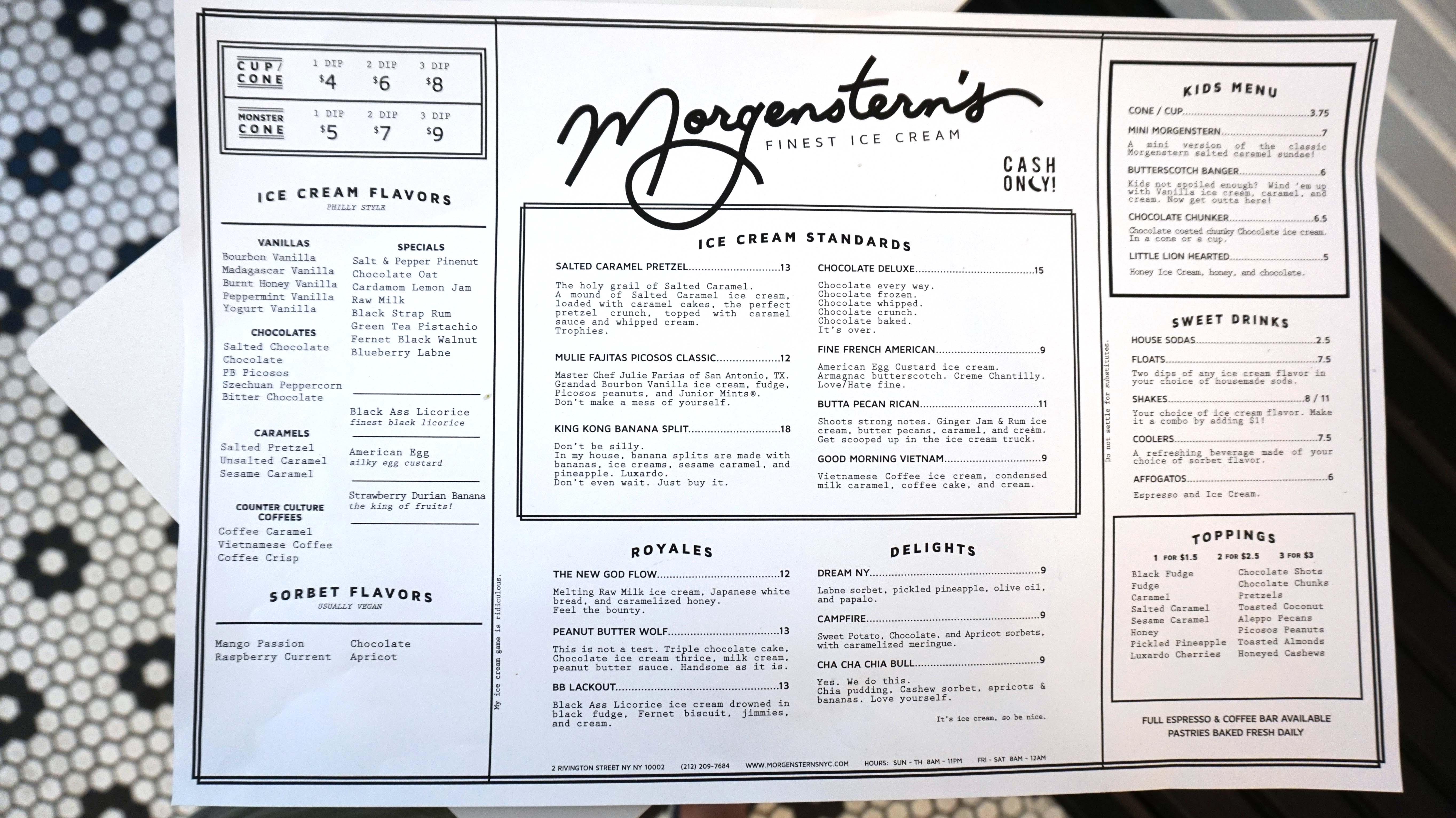 Morgensterns menu