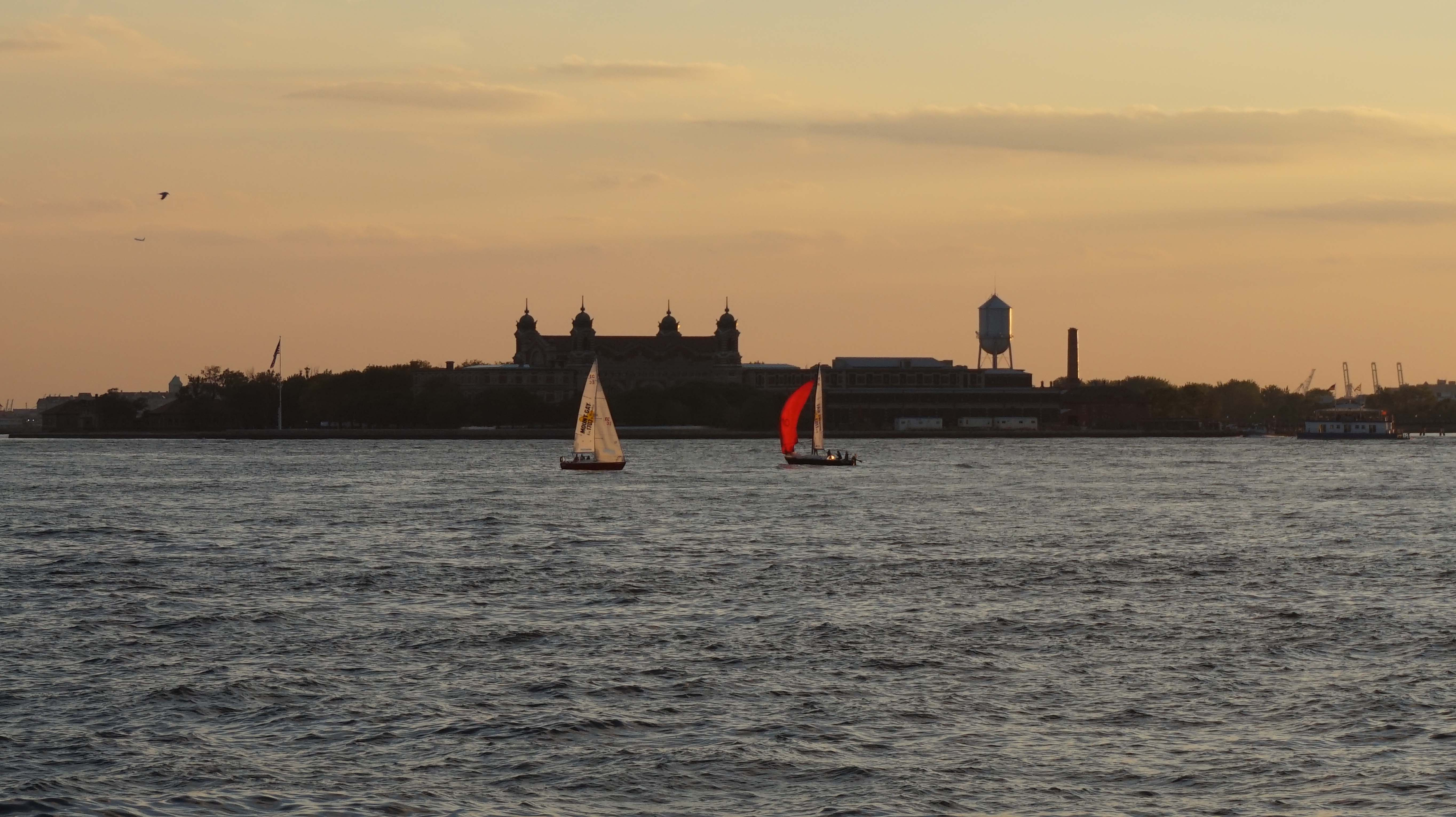 Sailboats in front of Ellis Island 8-18-2014 low