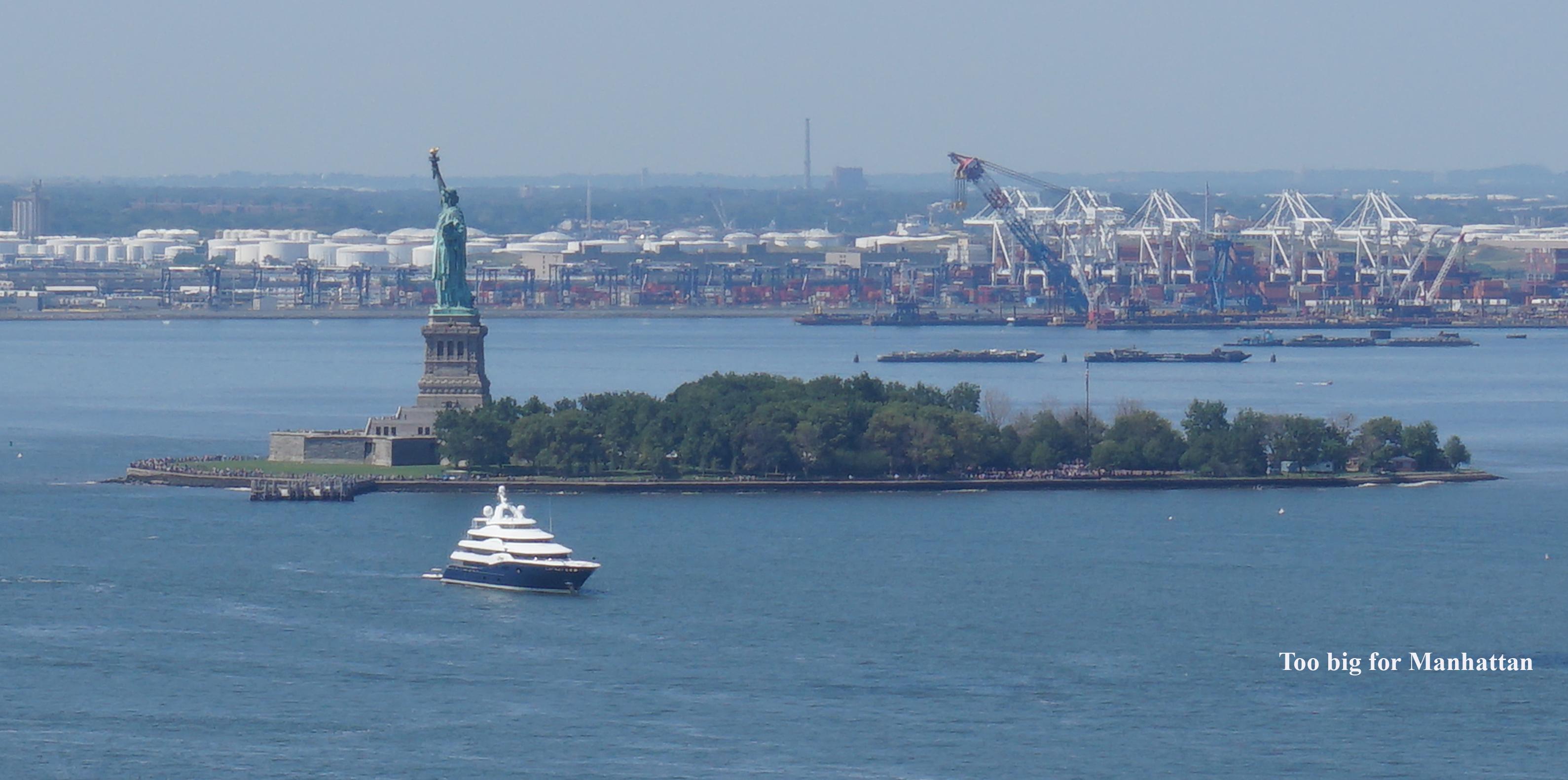 Ship too big to park in Manhattan port