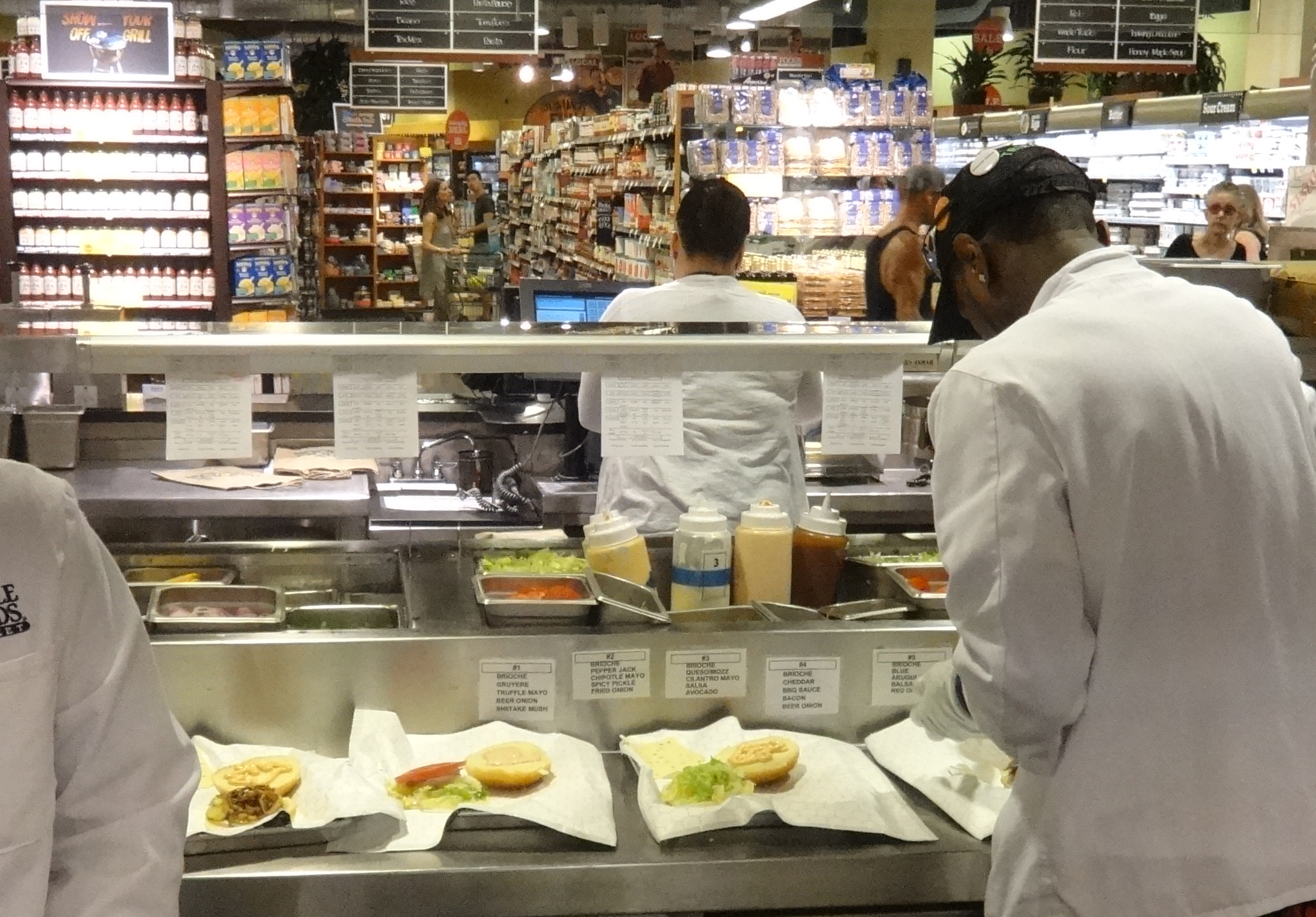 Whole Foods hamburgers being made