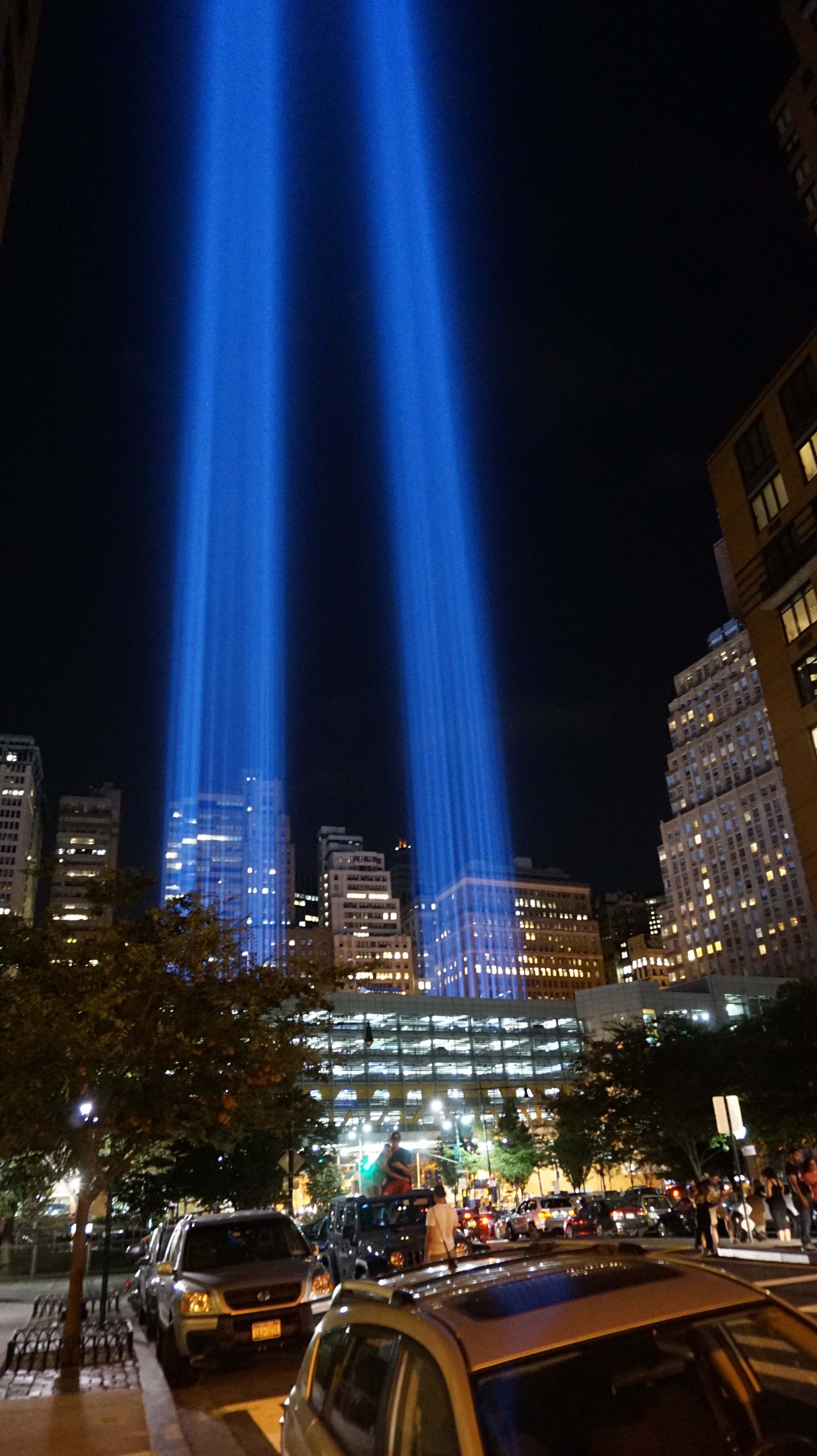 911 spotlights from west Thames