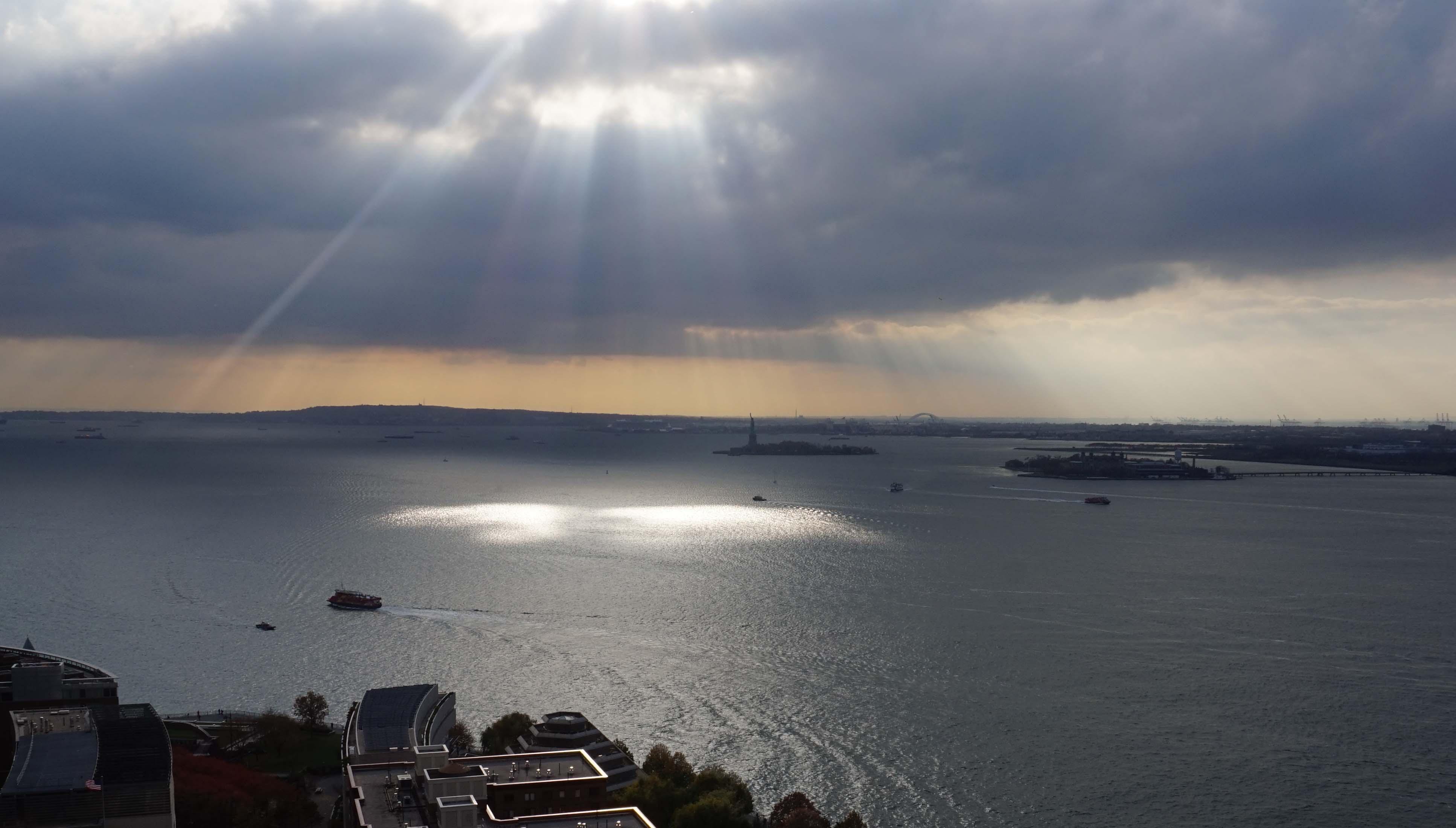 NY Harbor sunburst