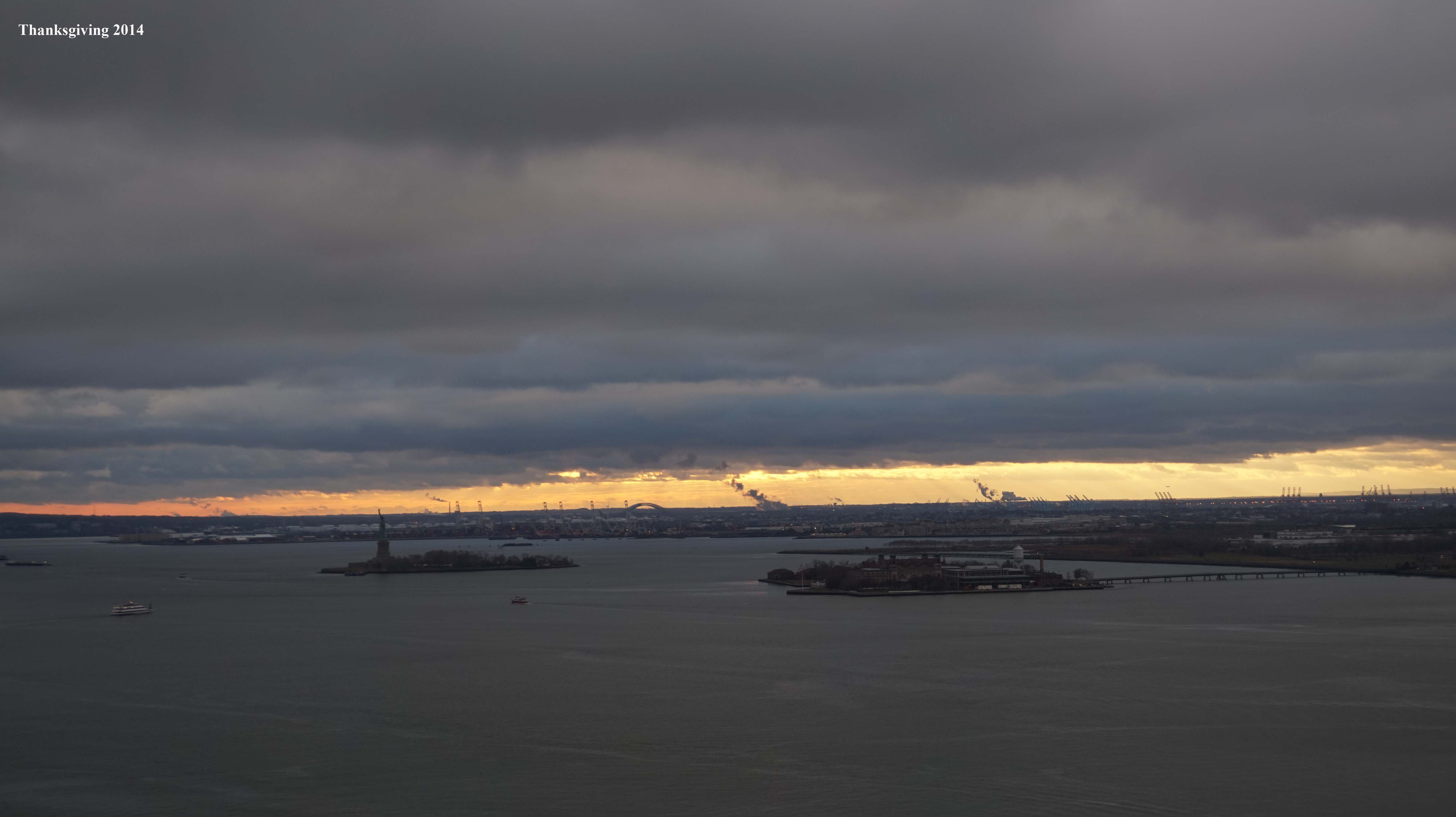 Sunset over New York Harbor Thanksgiving 11-27-2014 low
