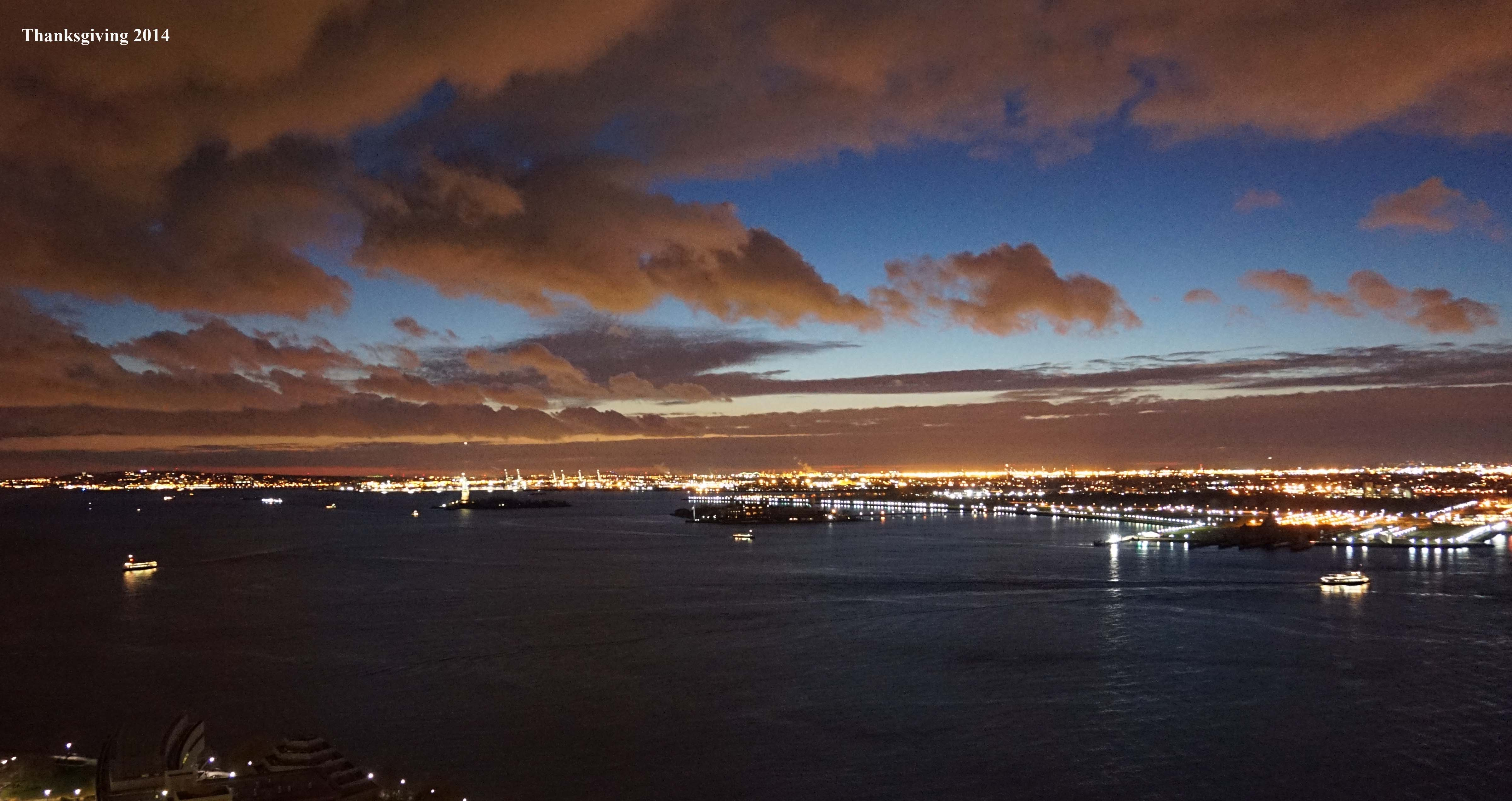Sunset over New York Harbor Thanksgiving night 11-27-2014 low