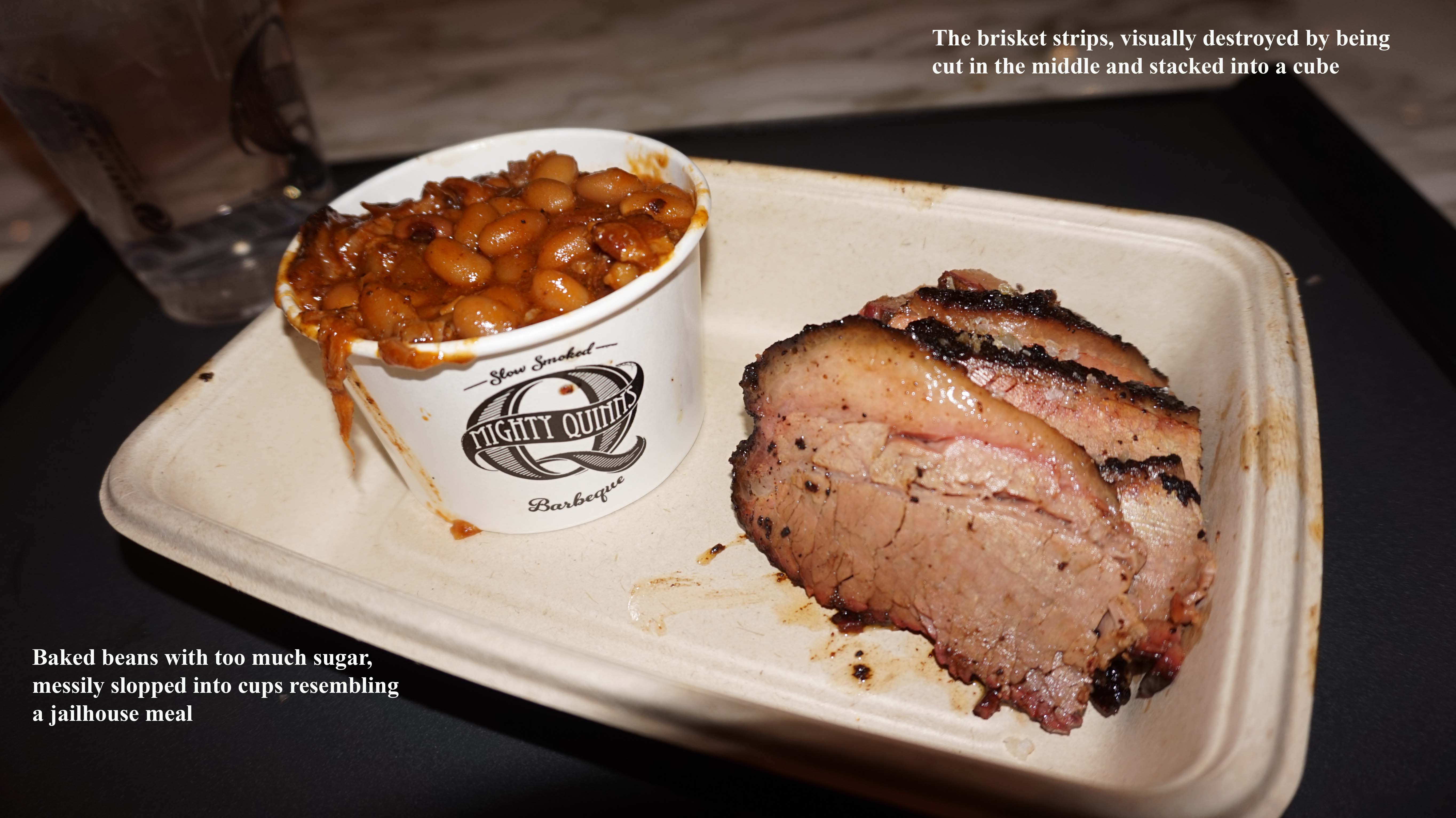 Mighty quinns bad plating of brisket and beans
