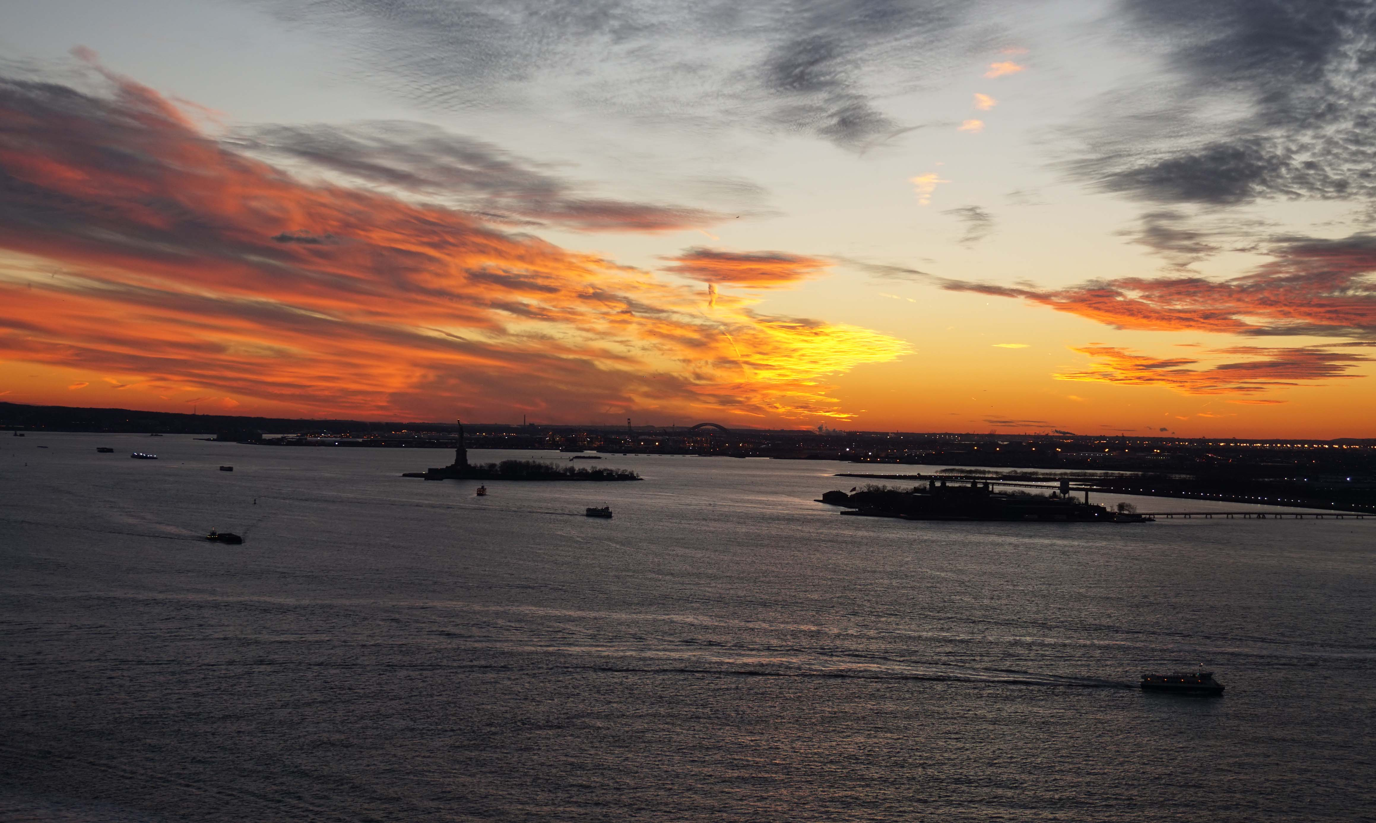 sunset over New York Harbor 12-29-2014 low