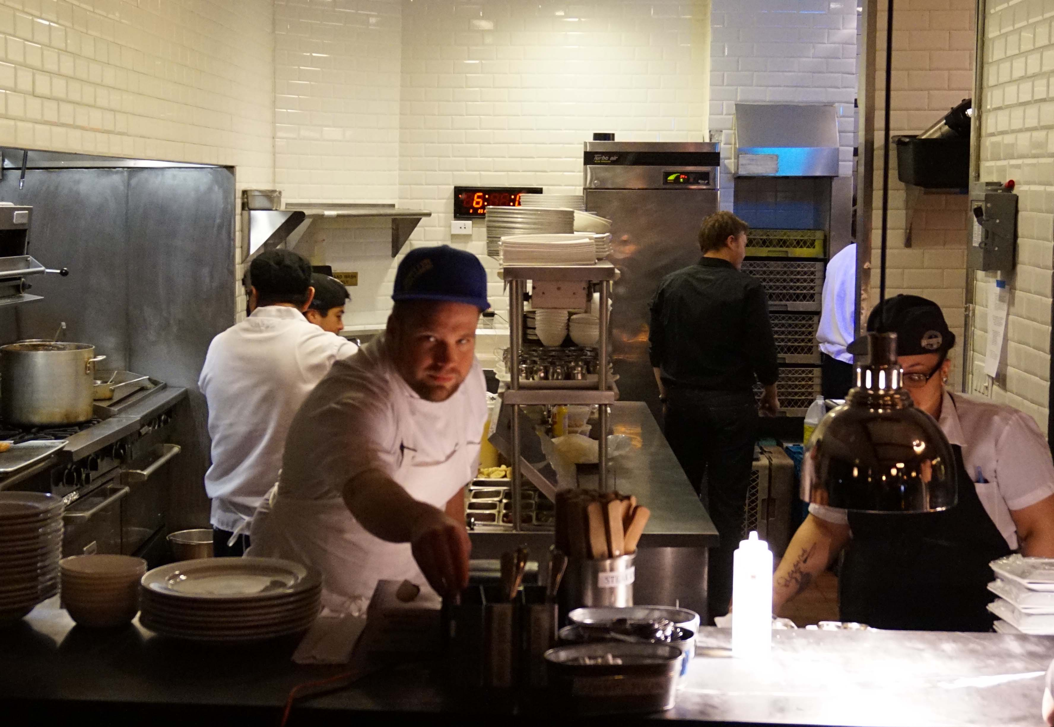 Chef Lyon in kitchen Distilled