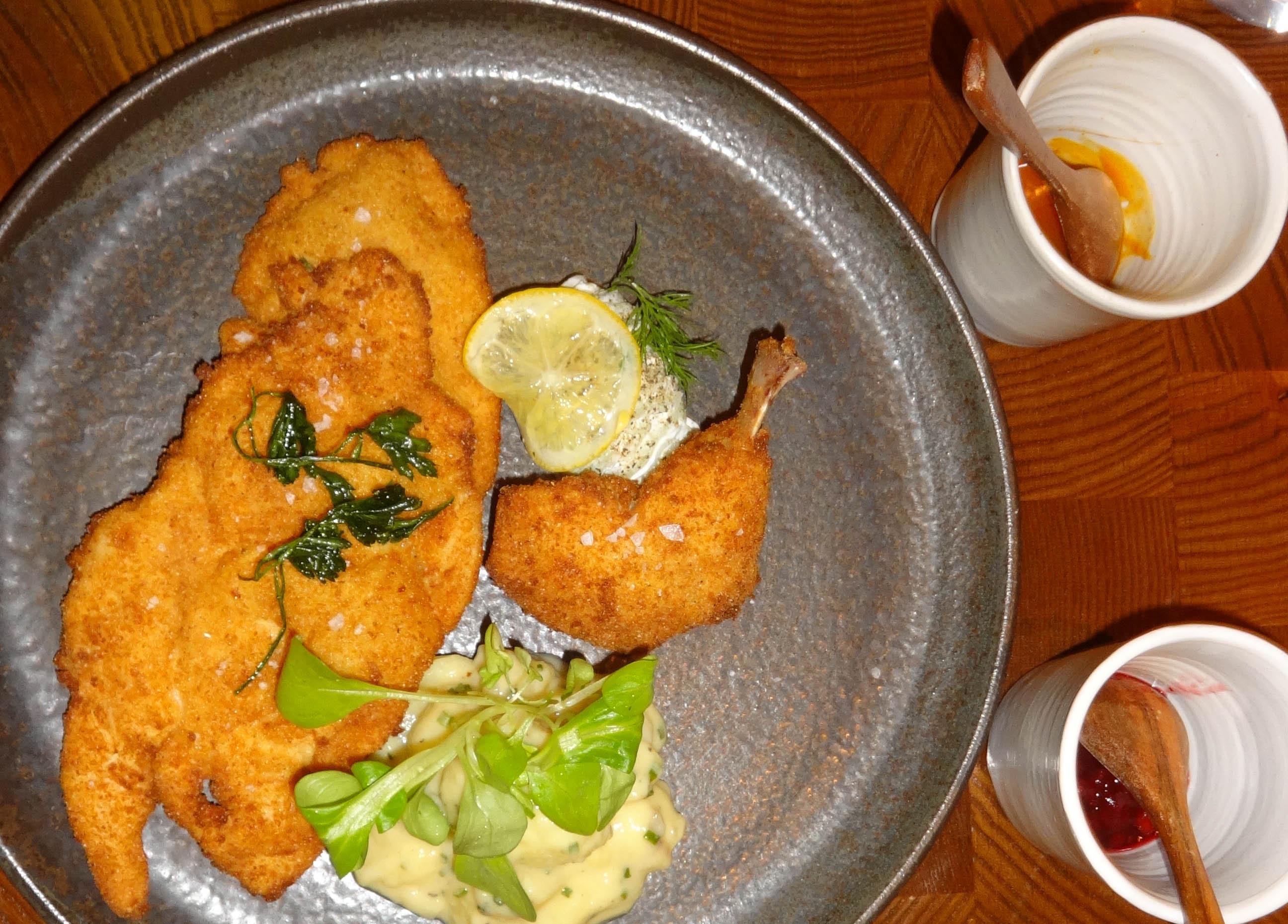 Chicken schnitzel at Batard top view