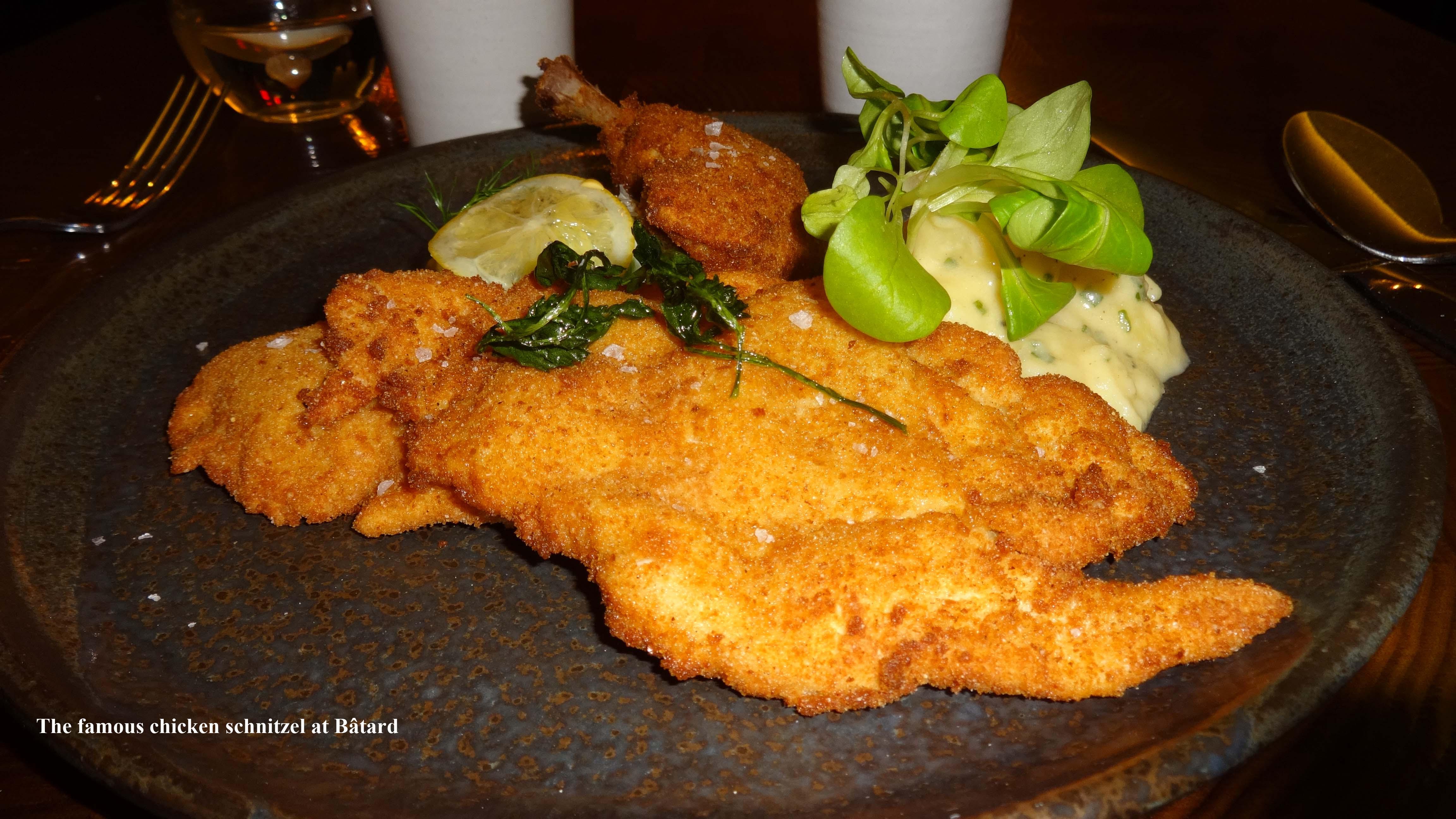 Chicken schnitzel at Batard