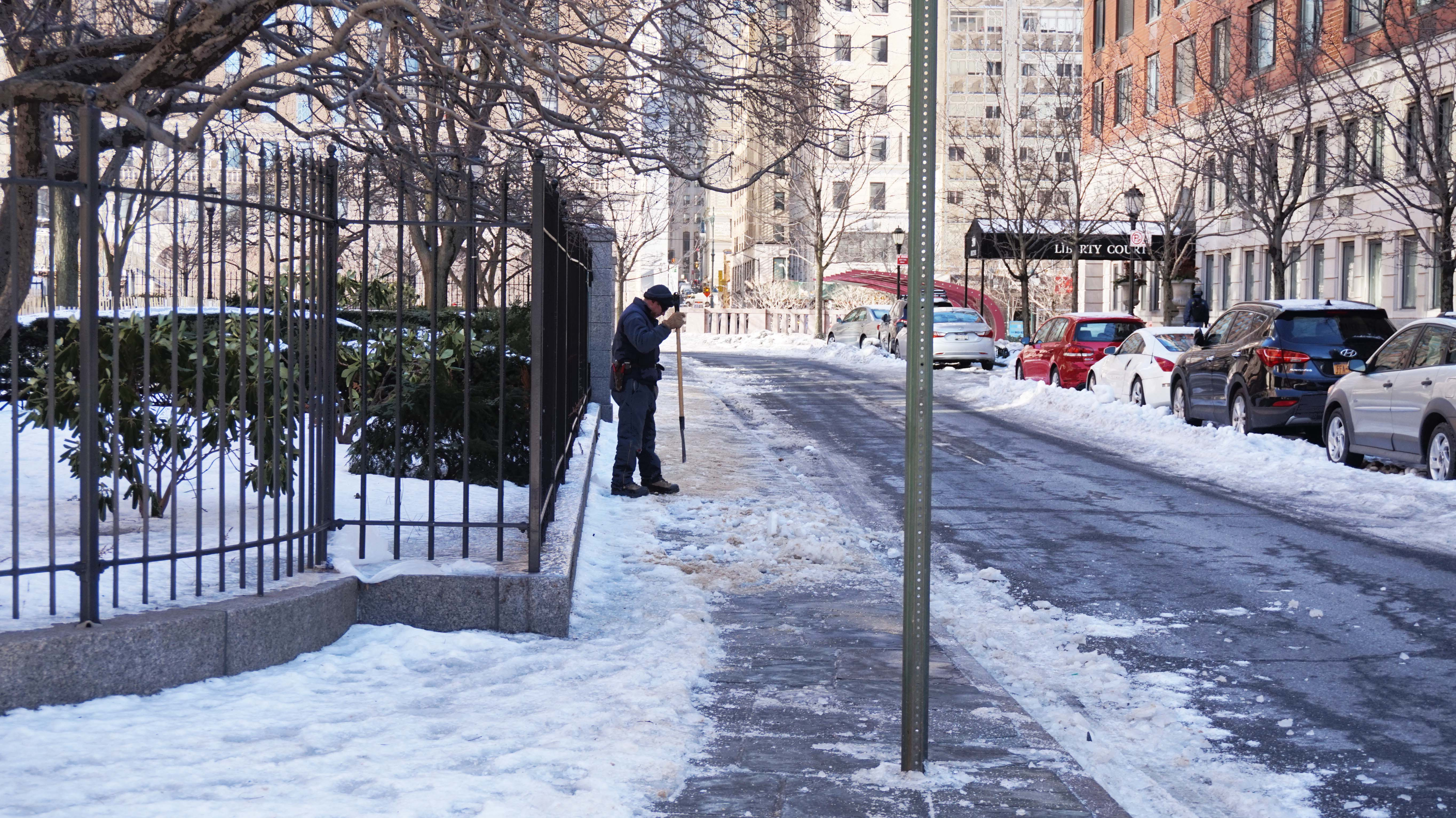 BPC parks employee chizzeling snow