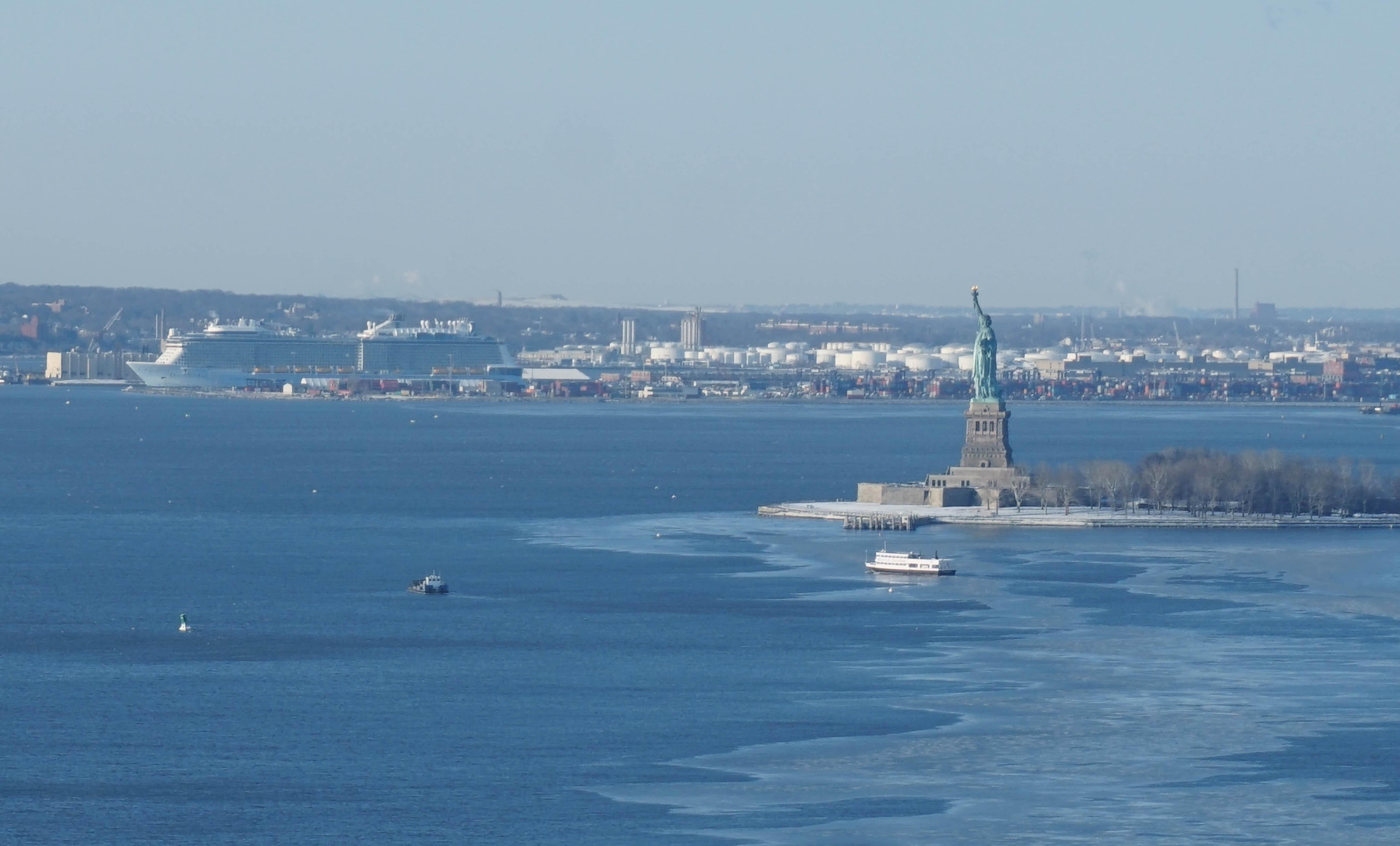 Cruise ship statue liberty ice 2-20-2015