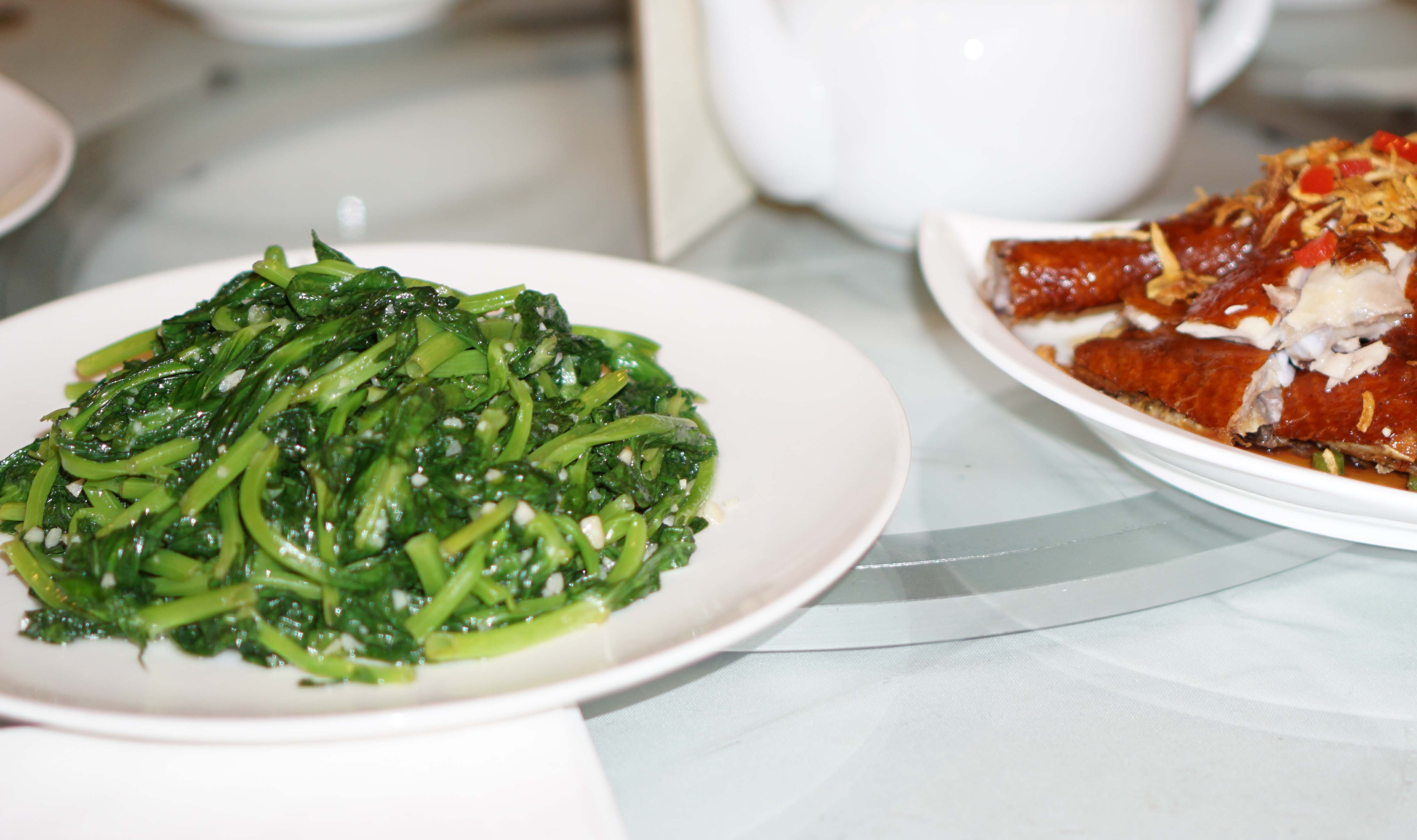 St George Sauteed Snow pea leaves with minced garlic