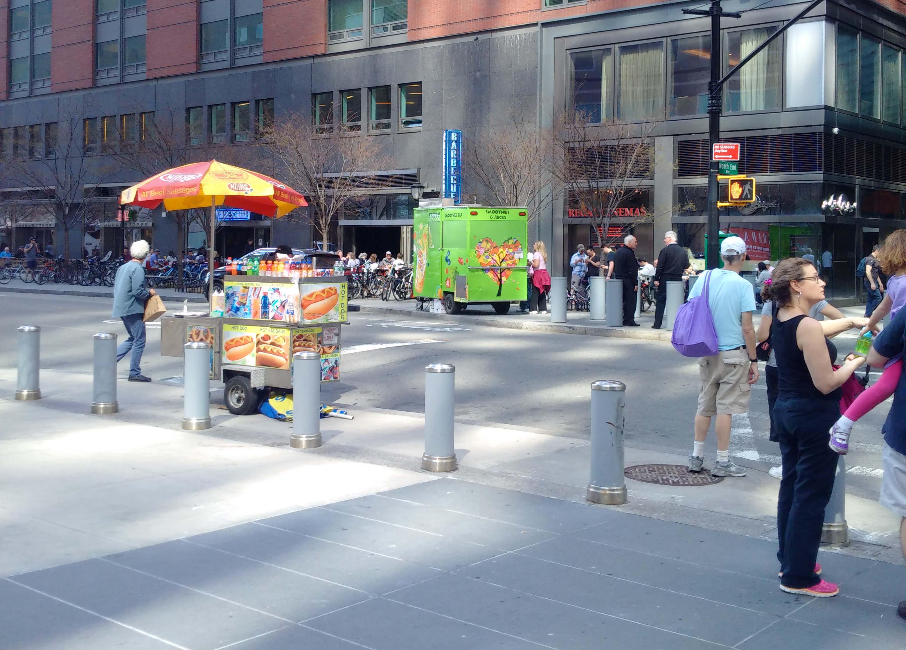 Fruit smoothie and hot dog on Vesey 4-18-2015