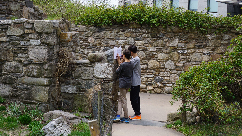 Irish Memorial stone house kids working