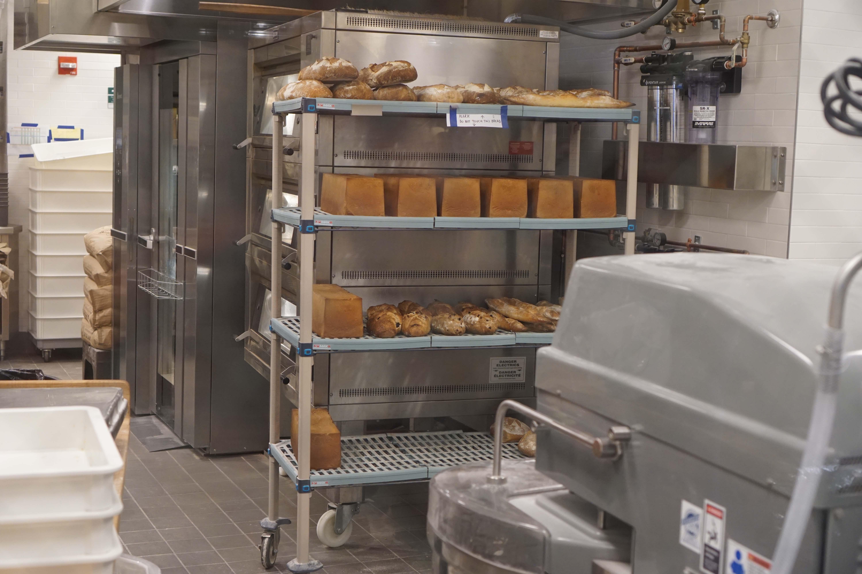 Le District bakery buns on rack