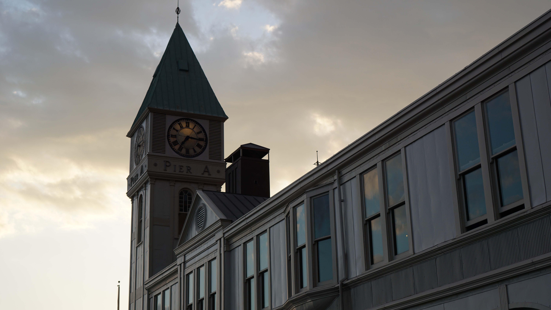 Pier A clock tower