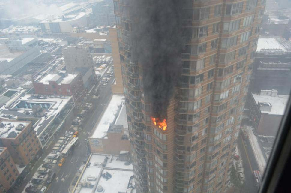 stock footage burning apartment building