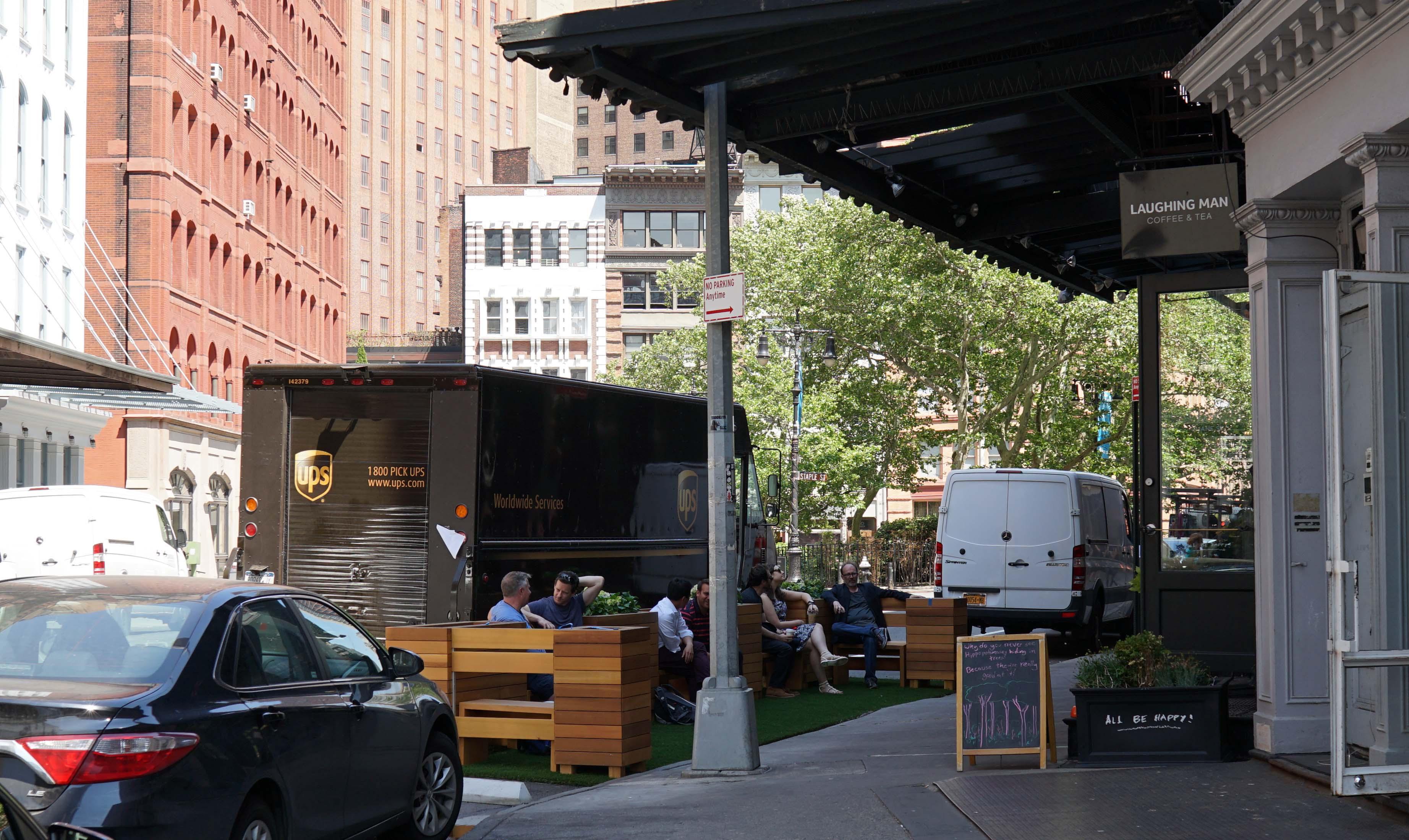 UPS bocks Laughing Man Tribeca