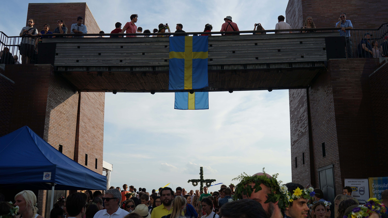 Swedish festival flag on walkway