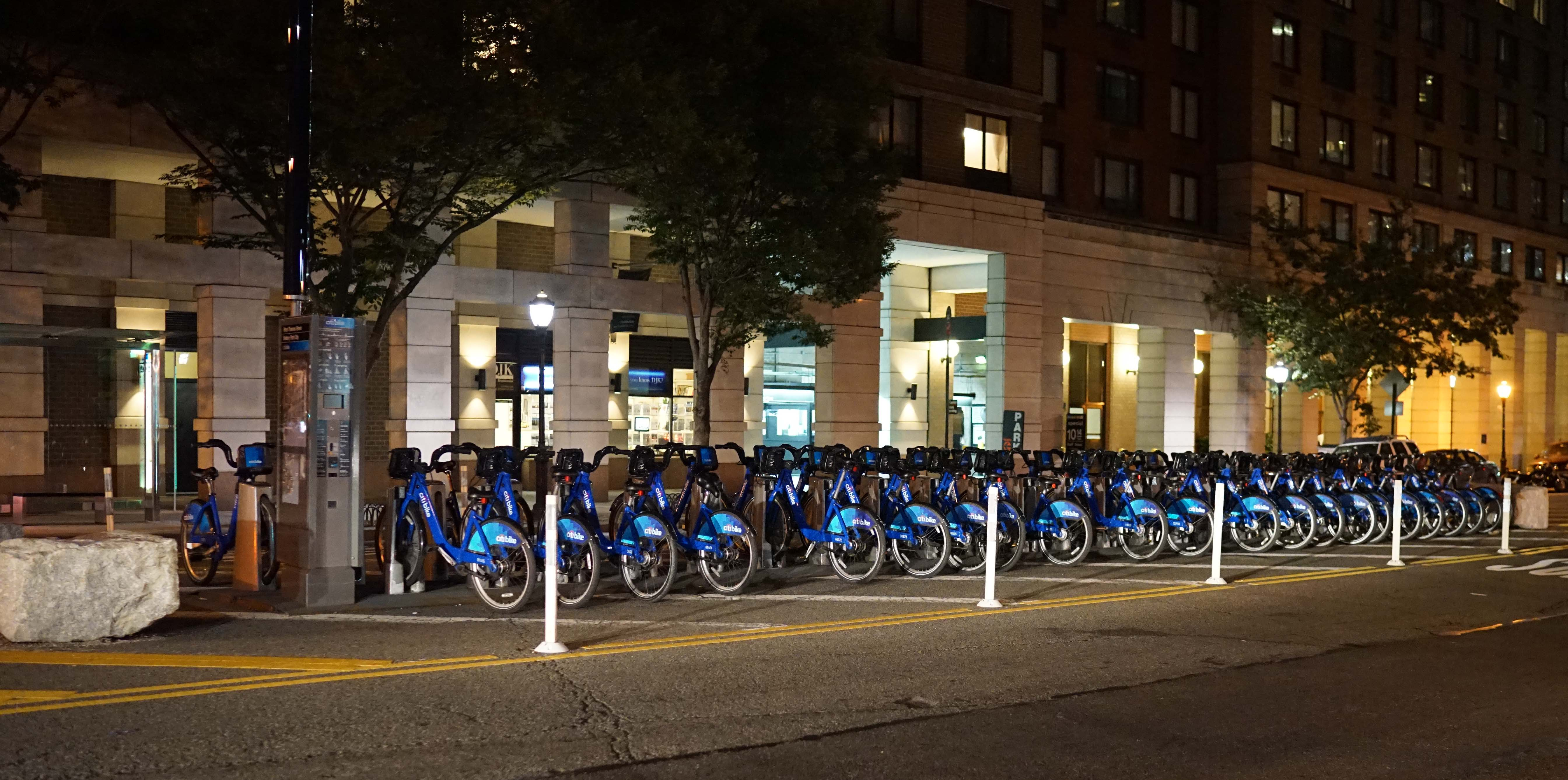 Citi bike rack West Thames night